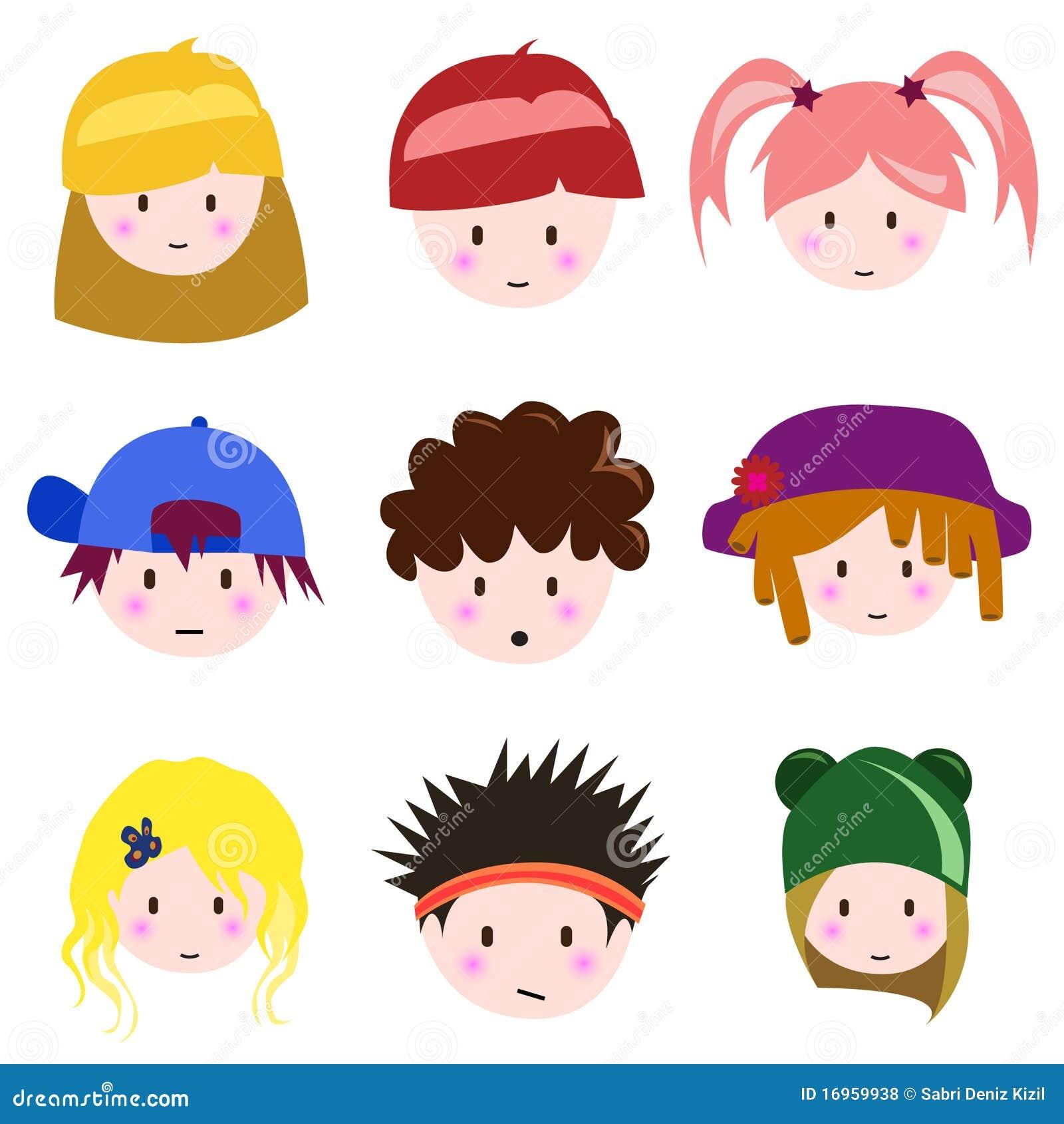 Célèbre Visage D'enfants De Dessin Animé Illustration de Vecteur - Image  OO55