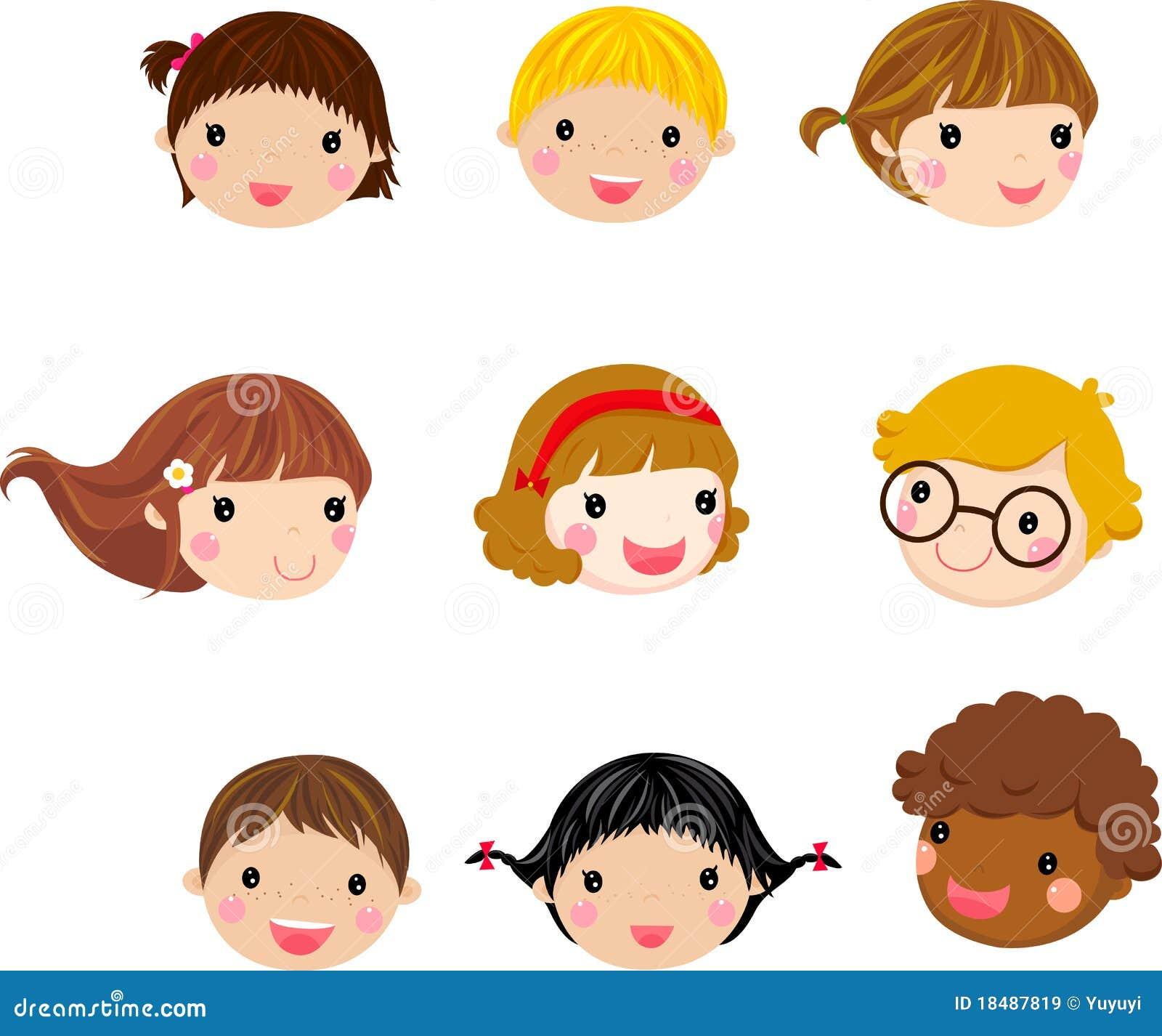 Bien-aimé Visage D'enfants De Dessin Animé Images libres de droits - Image  YA77