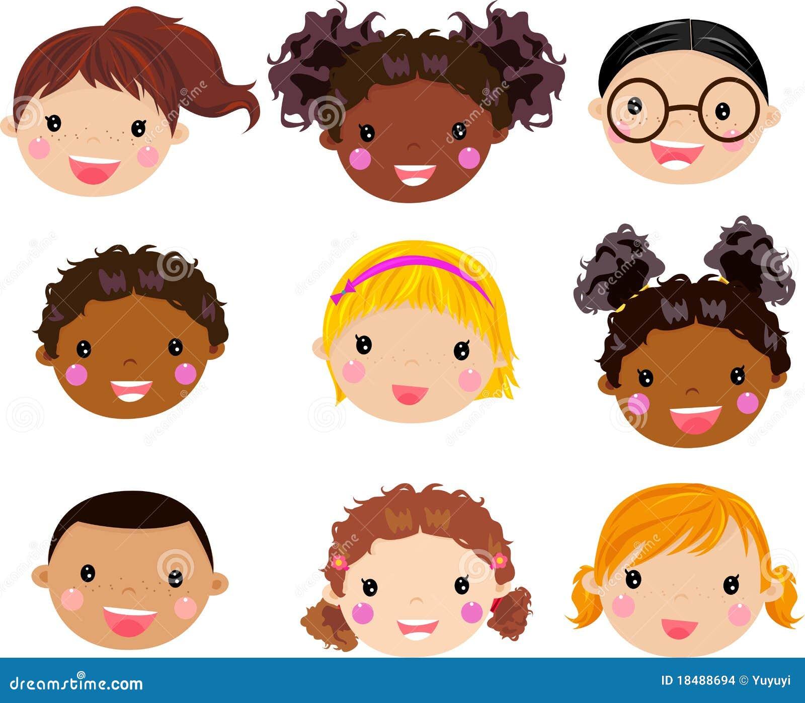 Visage d 39 enfants de dessin anim illustration de vecteur - Image dessin enfant ...