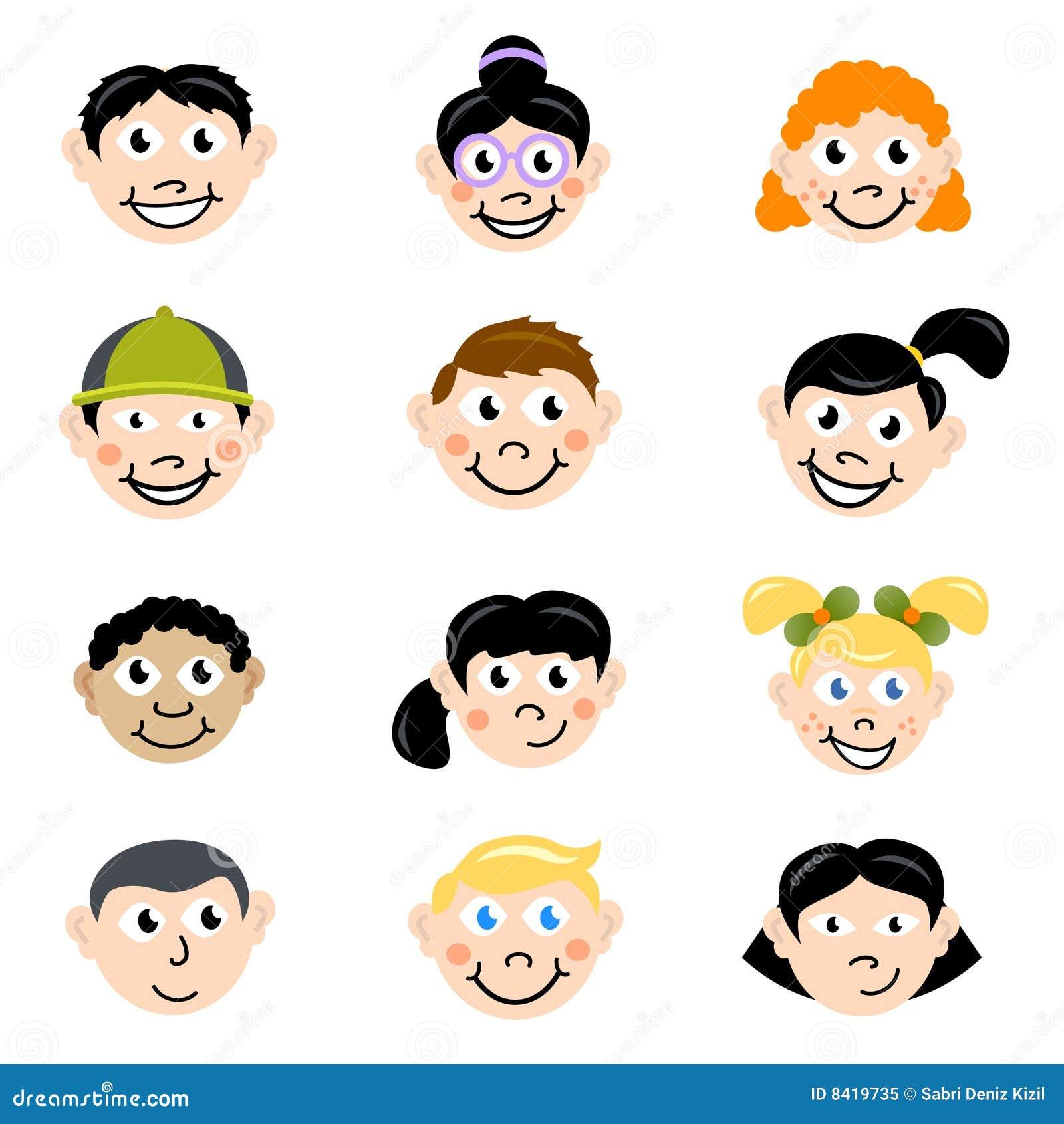 Visage d 39 enfants de dessin anim photo libre de droits - Dessin visage fille ...