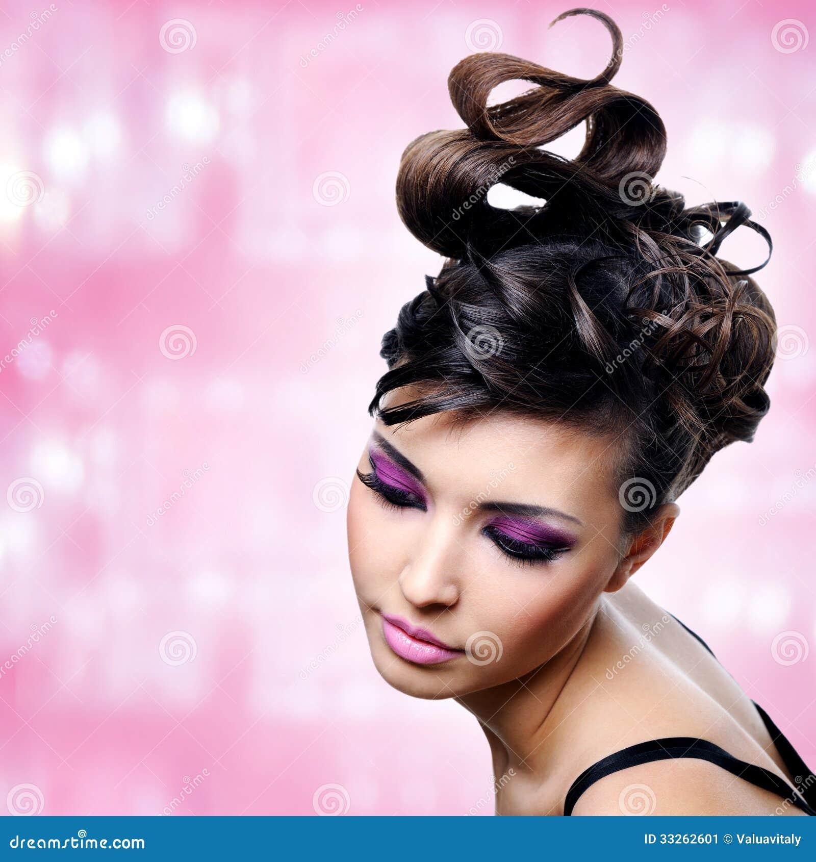 visage de belle femme avec la coiffure de mode et le makeu de charme image stock image 33262601. Black Bedroom Furniture Sets. Home Design Ideas