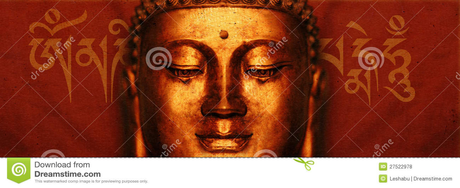 Visage de Bouddha avec l incantation