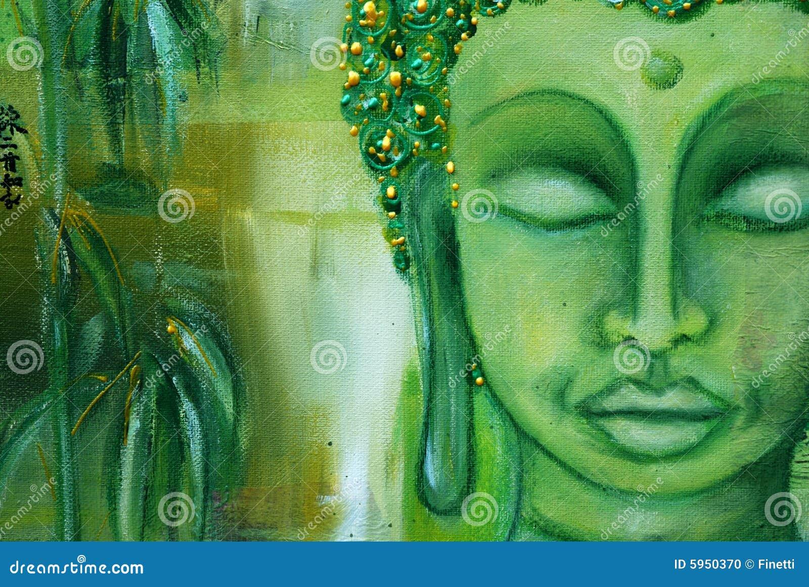 Visage de Bouddha sur le vert