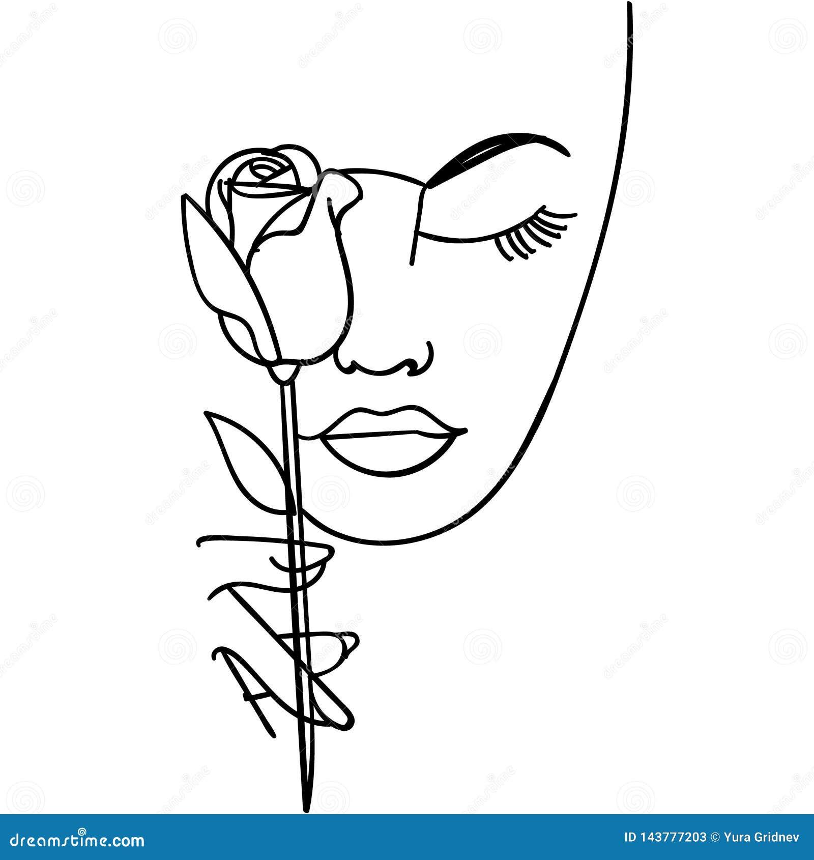 Visage De Femme Avec La Fleur Rose Dessin Au Trait Continu