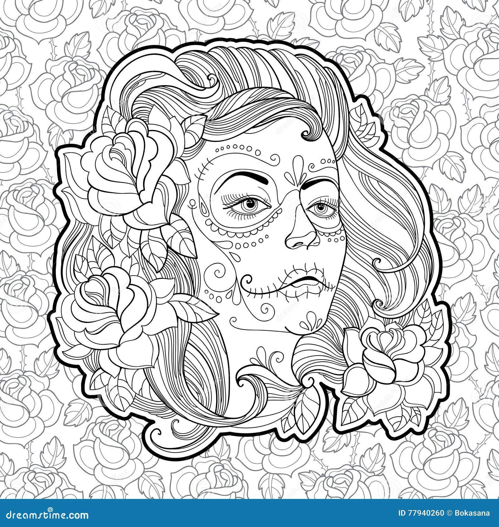 Visage De Femme Avec Le Crâne De Sucre Ou Maquillage De ...