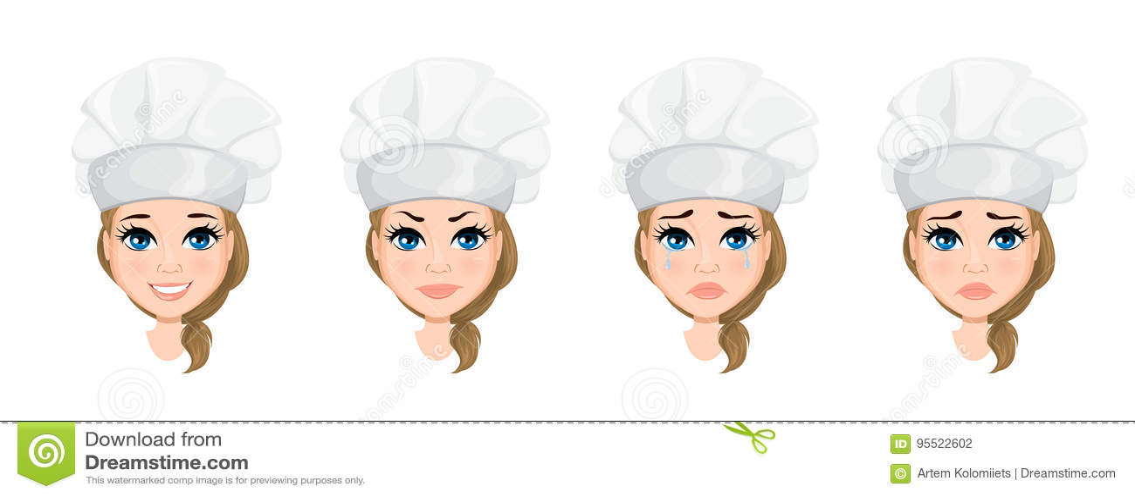 Visage De Femme De Chef Avec De Diverses émotions Positionnement