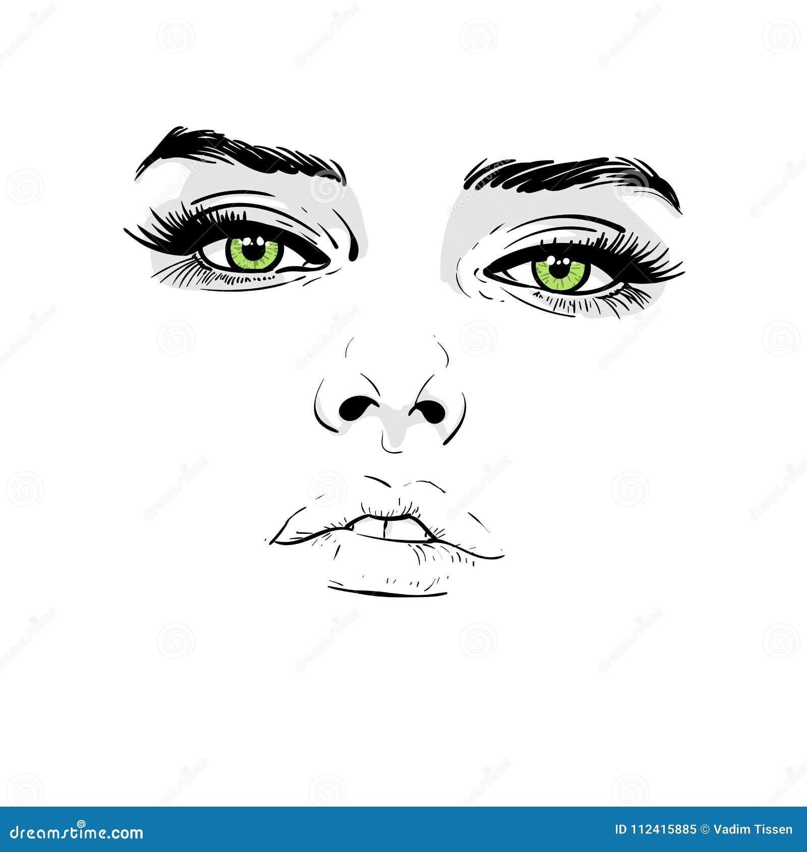 Visage de femme Portrait contours Dessin de main de croquis de Digital