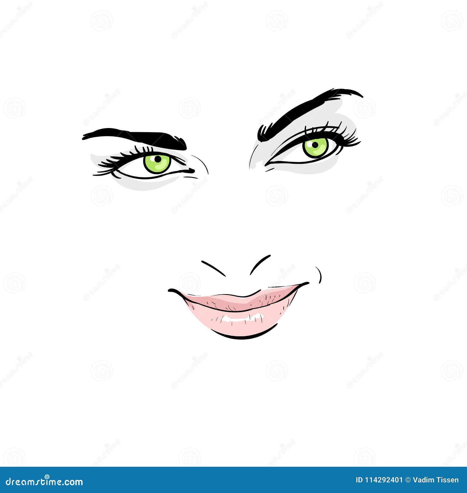 Visage De Femme Portrait Contours Dessin De Main De Croquis De