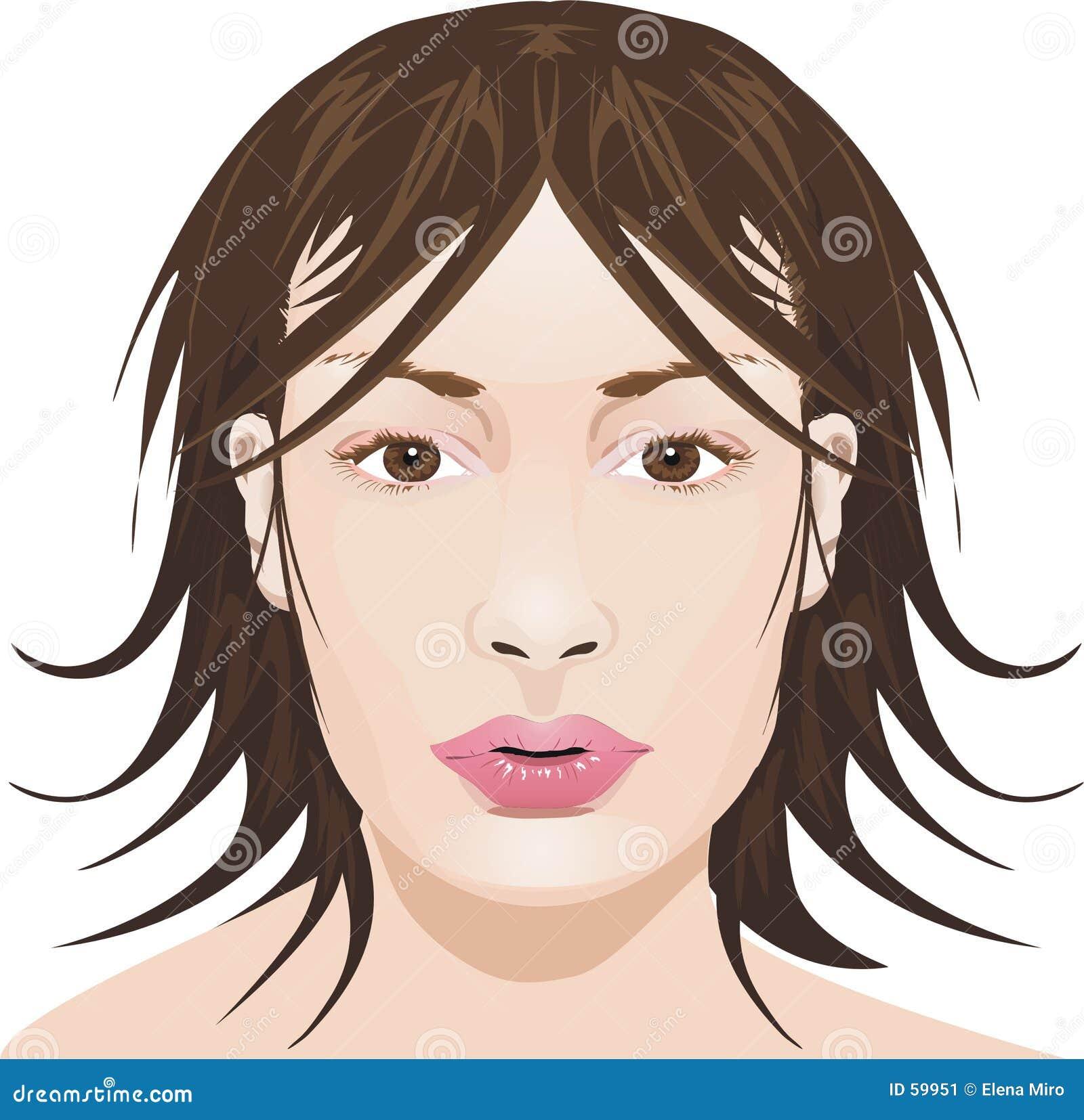 Download Visage de fille illustration stock. Illustration du modèle - 59951