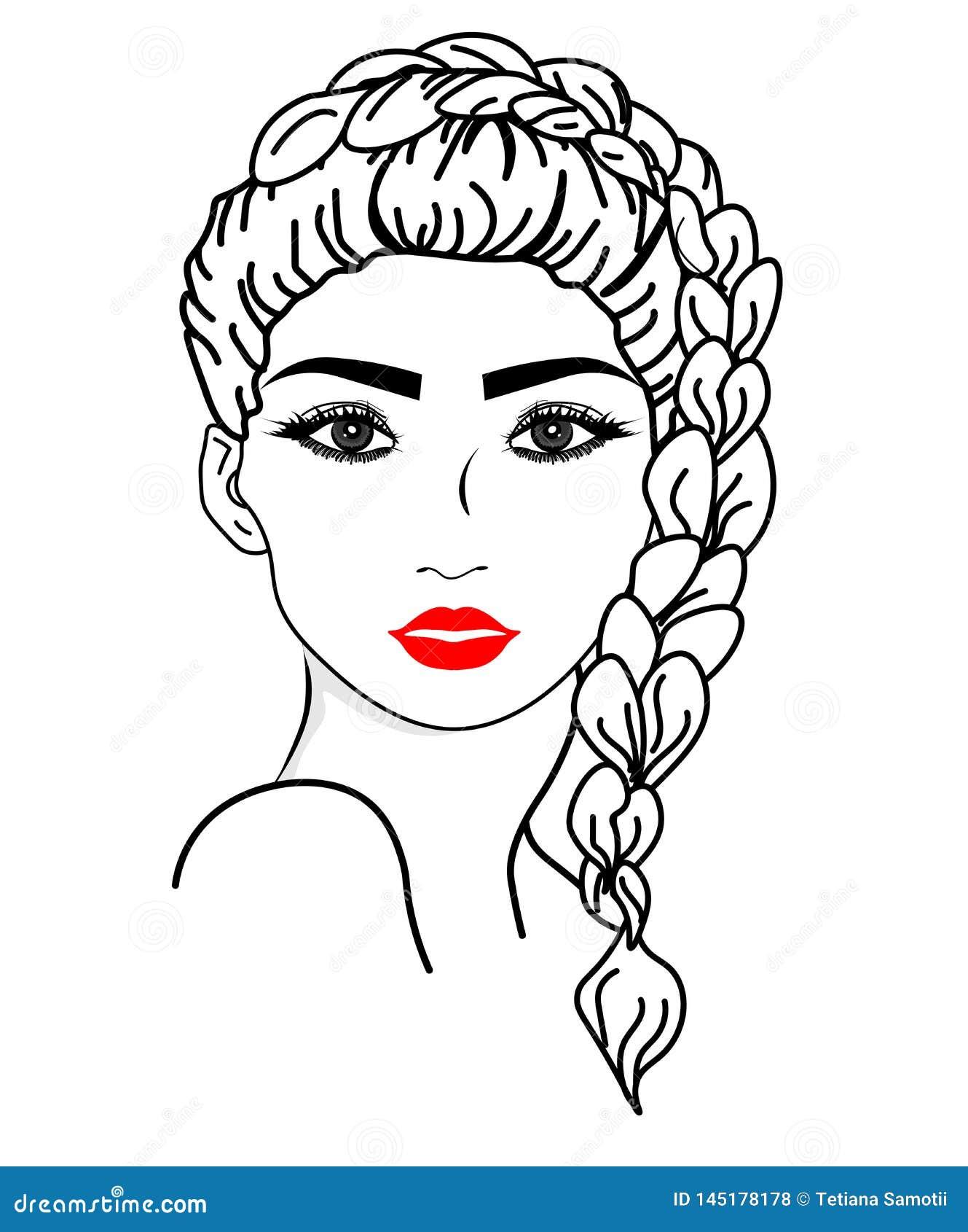 Visage de fille de vecteur de Web Illustration de la longue ic?ne de coiffure de femmes, visage de femmes de logo sur le fond bla