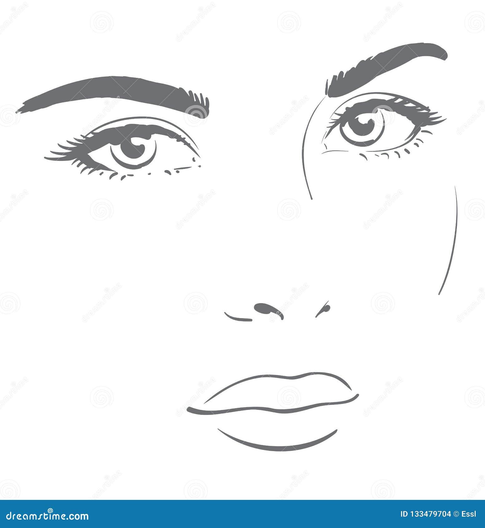 Visage De Jeune Femme Avec Le Regard Amical Dessin Graphique