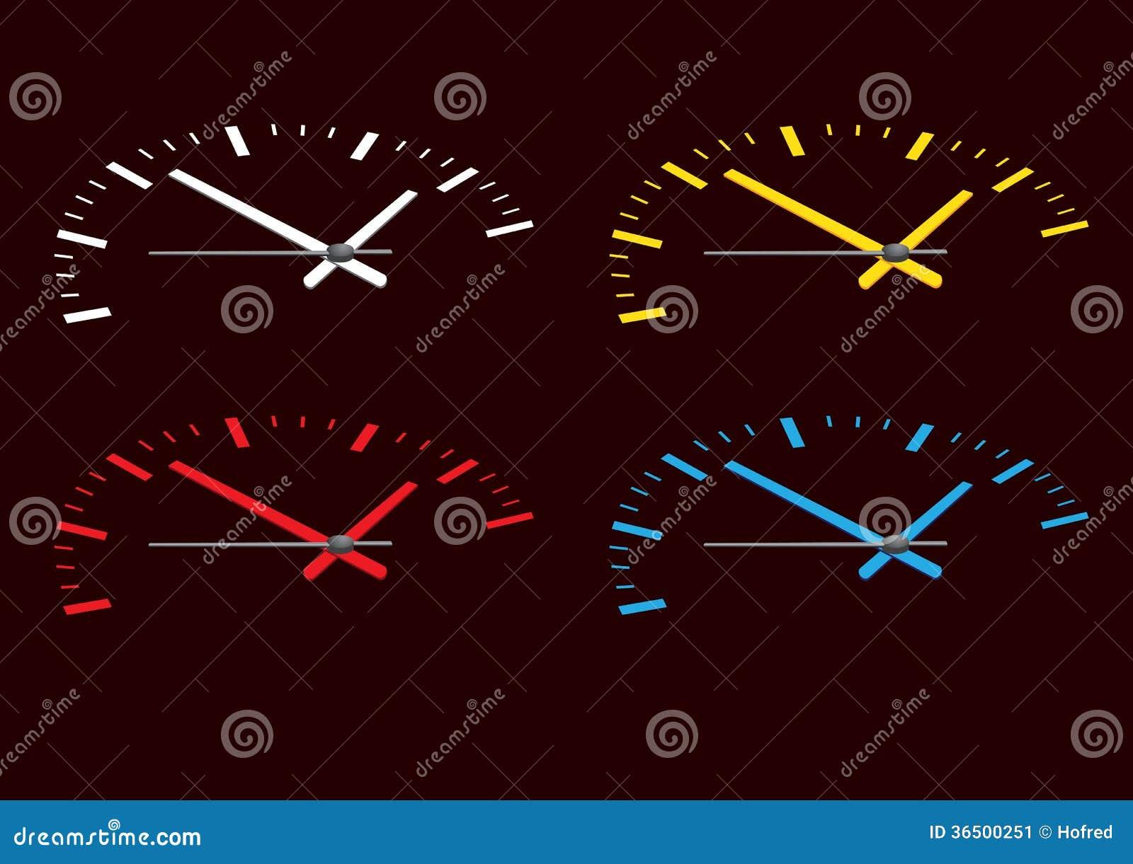 Visage de montre coloré par quatre