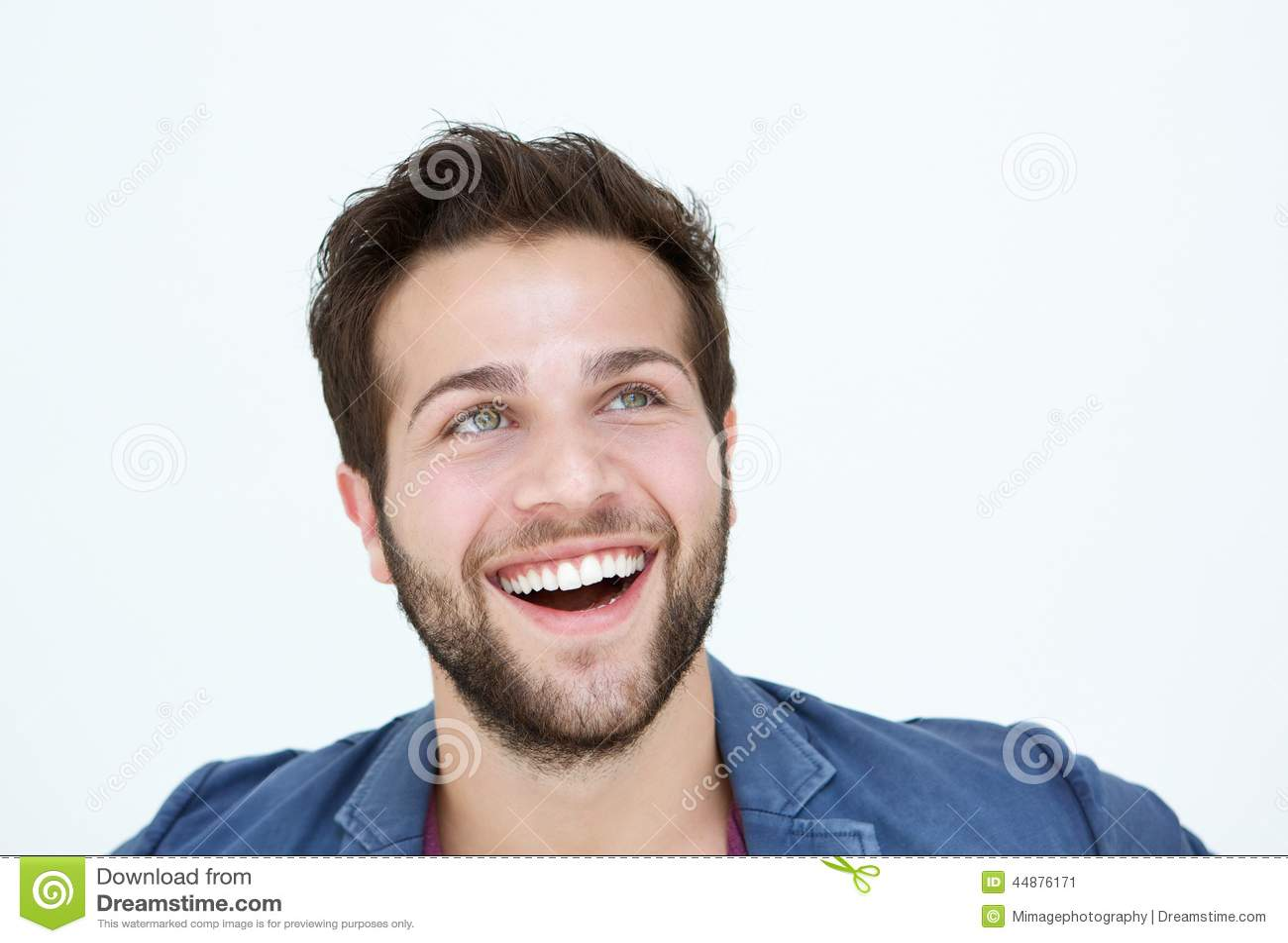 Homme Souriant visage de sourire d'homme sur le fond blanc image stock - image du
