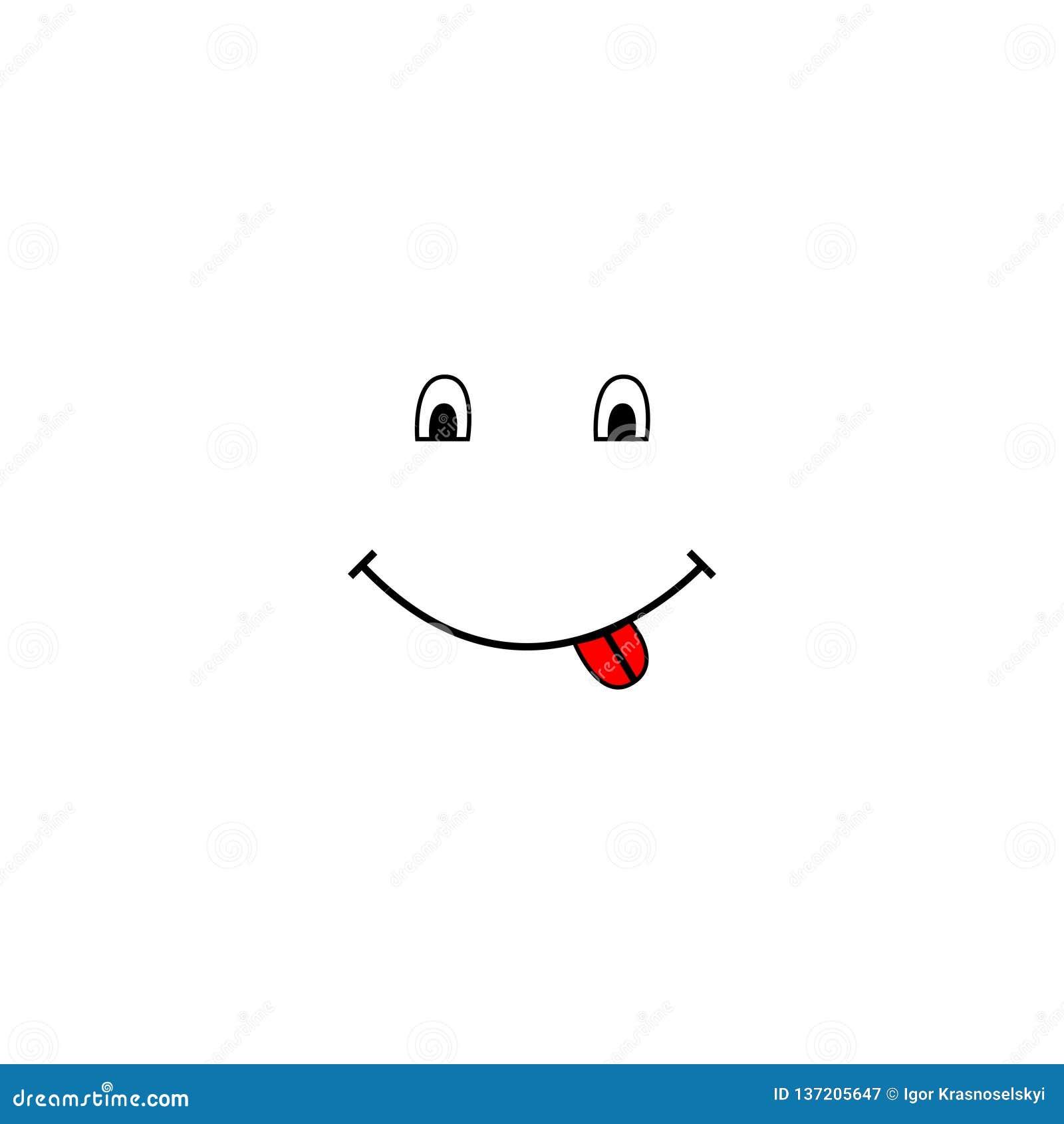 Visage de sourire et représentation de la langue dans le style de bande dessinée Émotion heureuse
