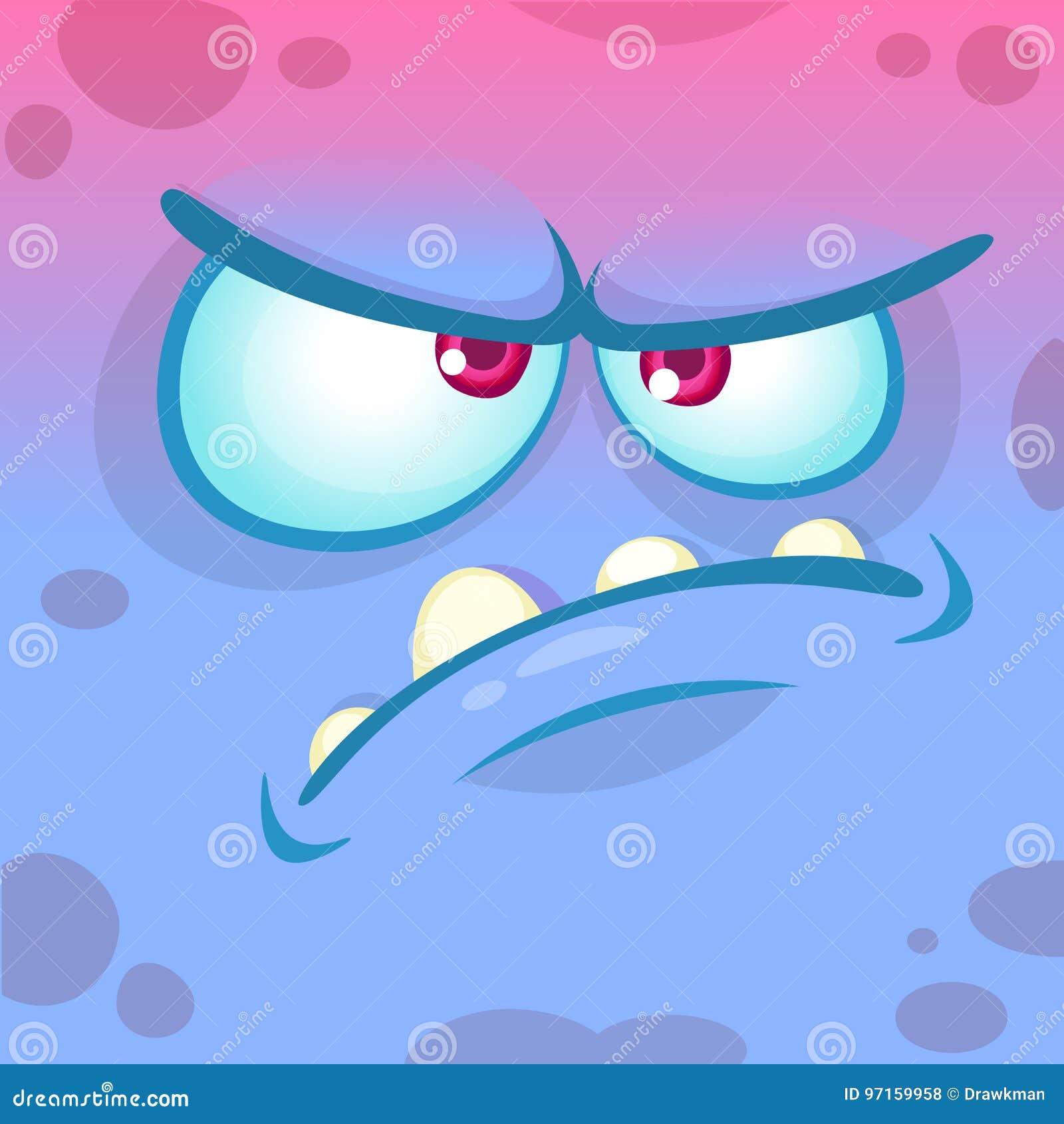 Visage fâché de monstre de bande dessinée Avatar bleu d émotion de monstre de Halloween de vecteur