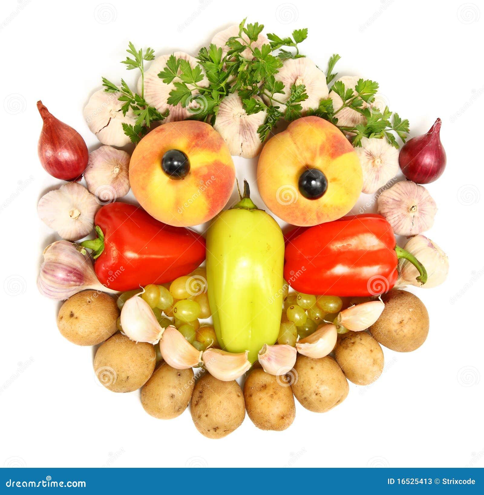 Visage gai effectu partir des fruits et l gumes photos stock image 16525413 - Fruits et legumes de a a z ...