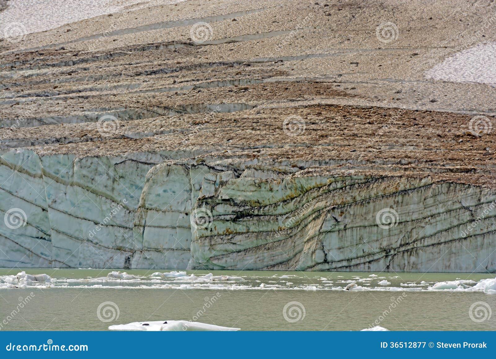 Visage glaciaire de glace sur un lac glaciaire