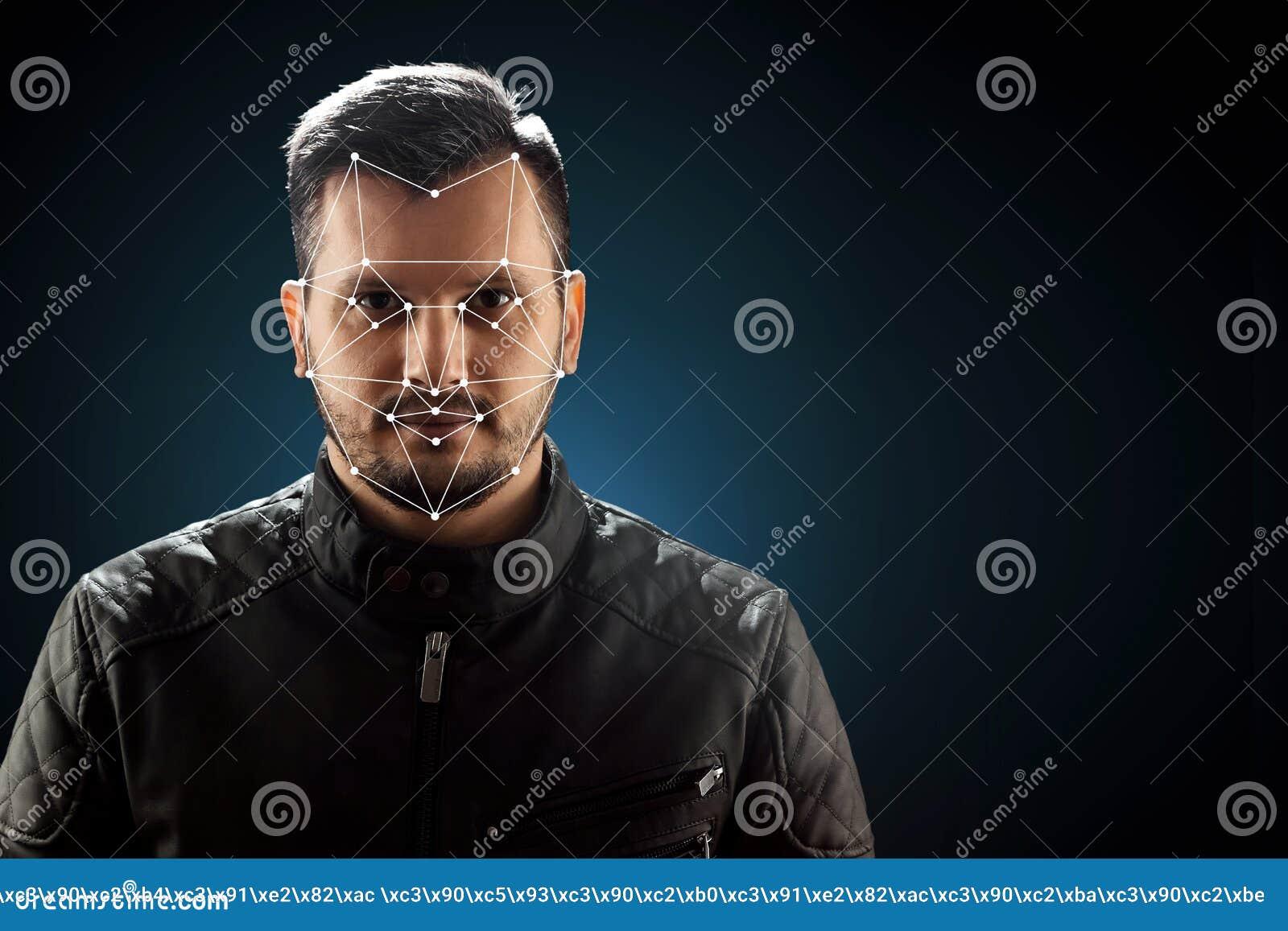 Visage masculin, reconnaissance des visages biométrique de vérification La technologie de la reconnaissance des visages sur la gr