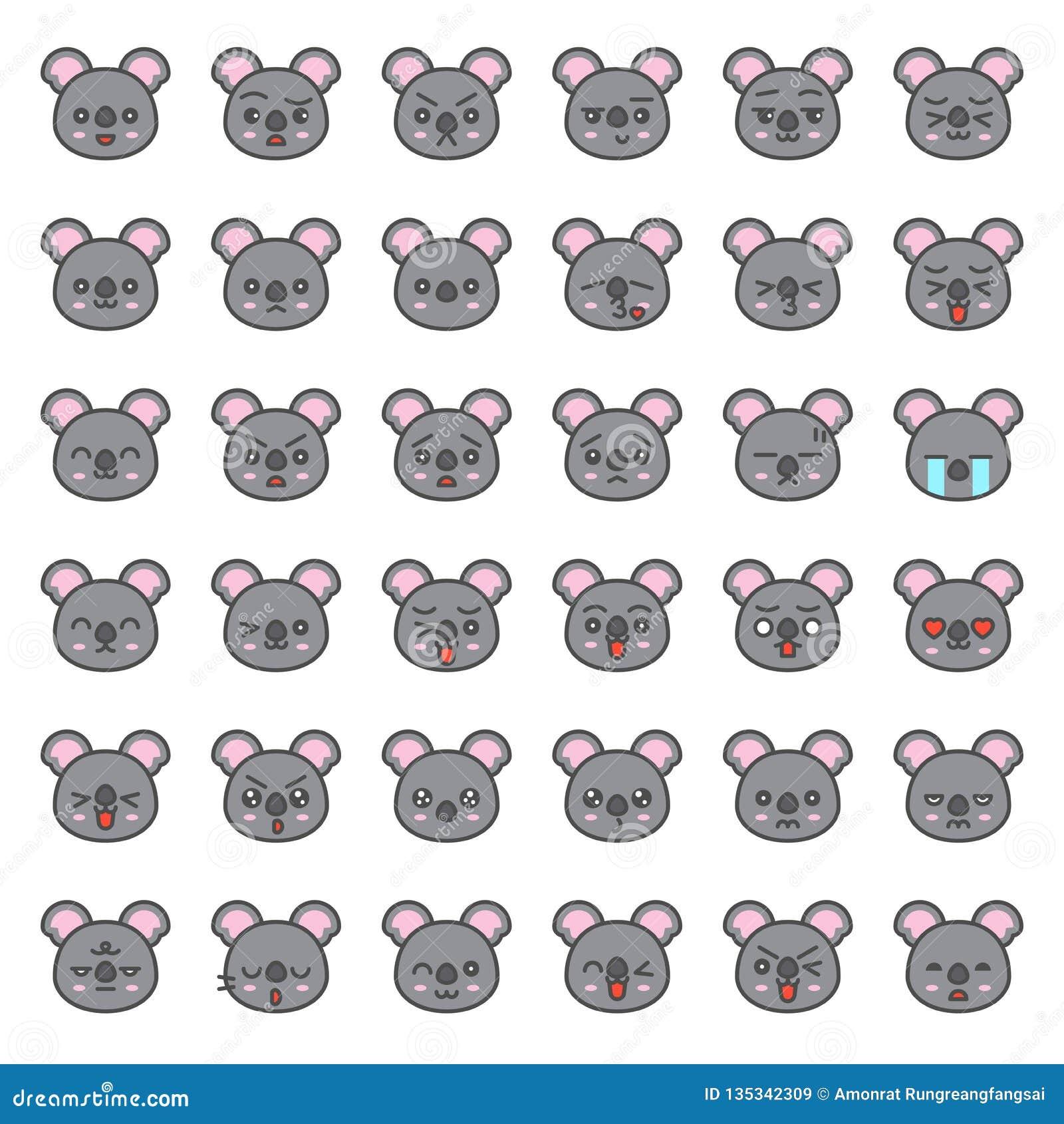 Visage mignon d émotion de koala dans le divers expession, ligne editable icône