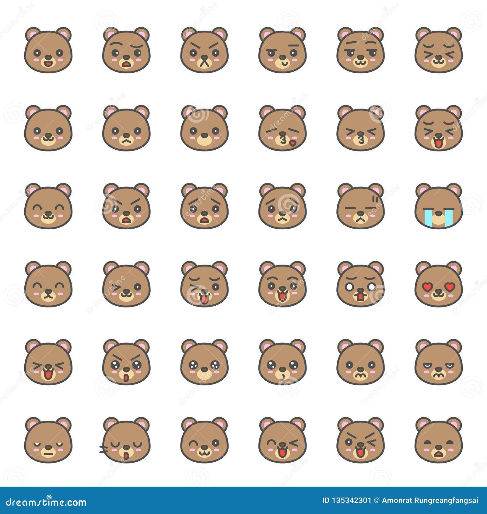 Visage mignon d émotion d ours dans le divers expession, ligne editable icône