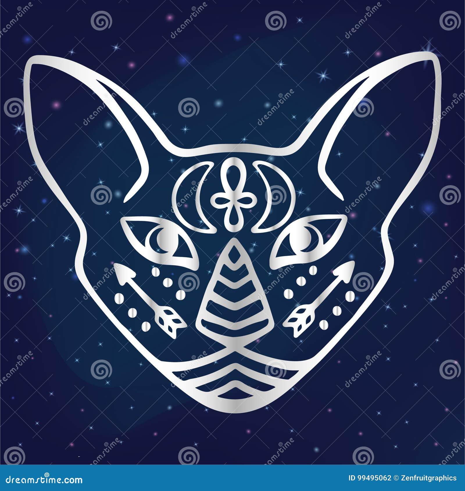 Visage Mystique De Chat Avec L Animal Sacre De Symboles De Chat