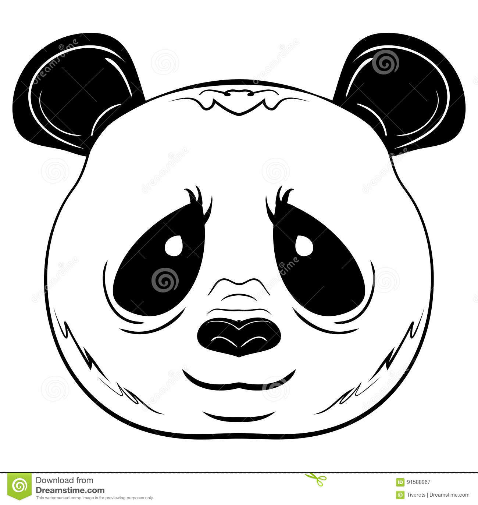 Visage Noir Et Blanc De Panda De Croquis De Vecteur