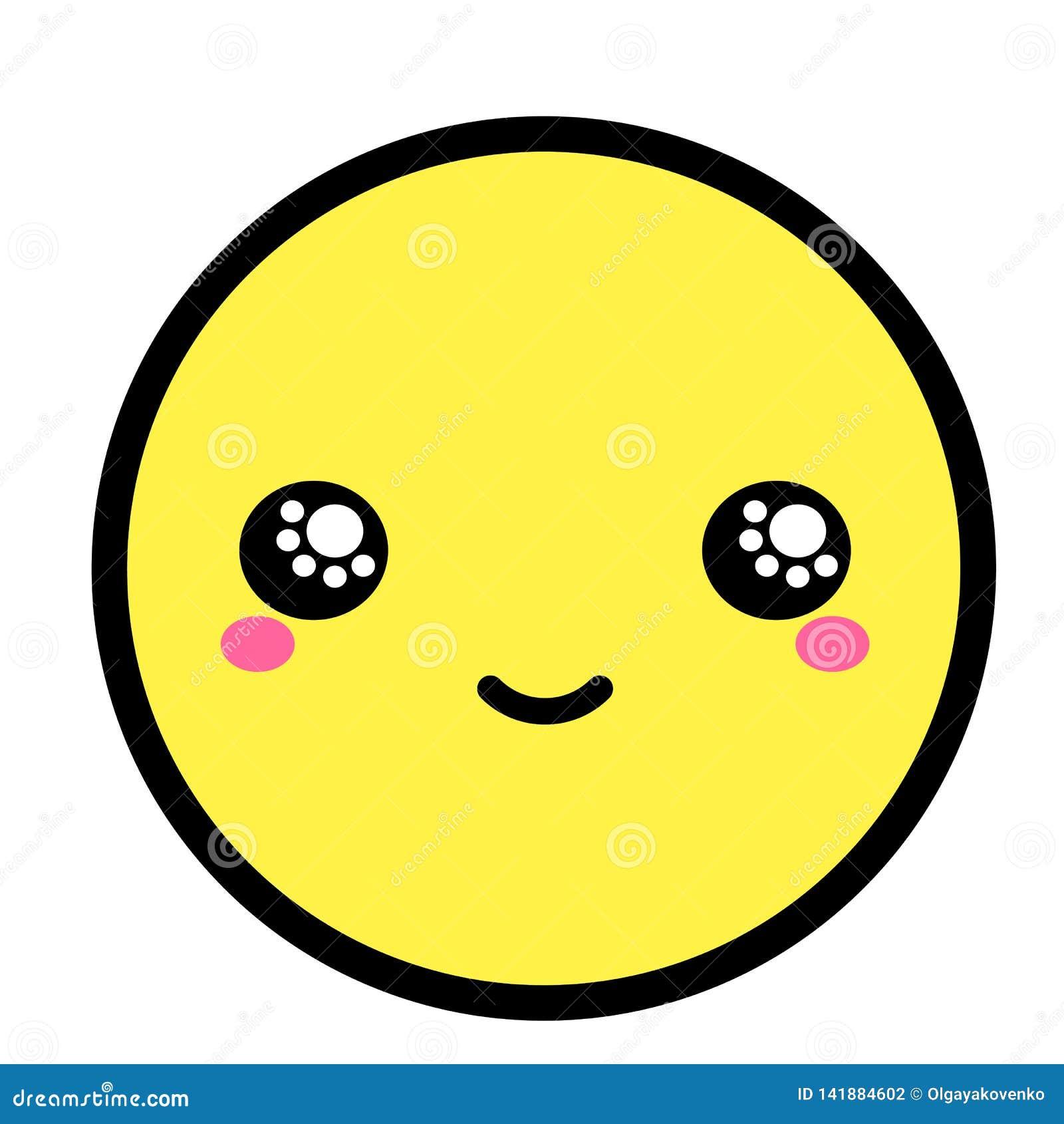 Visage Plat D Emoji De Kawaii Personnage De Dessin Animé