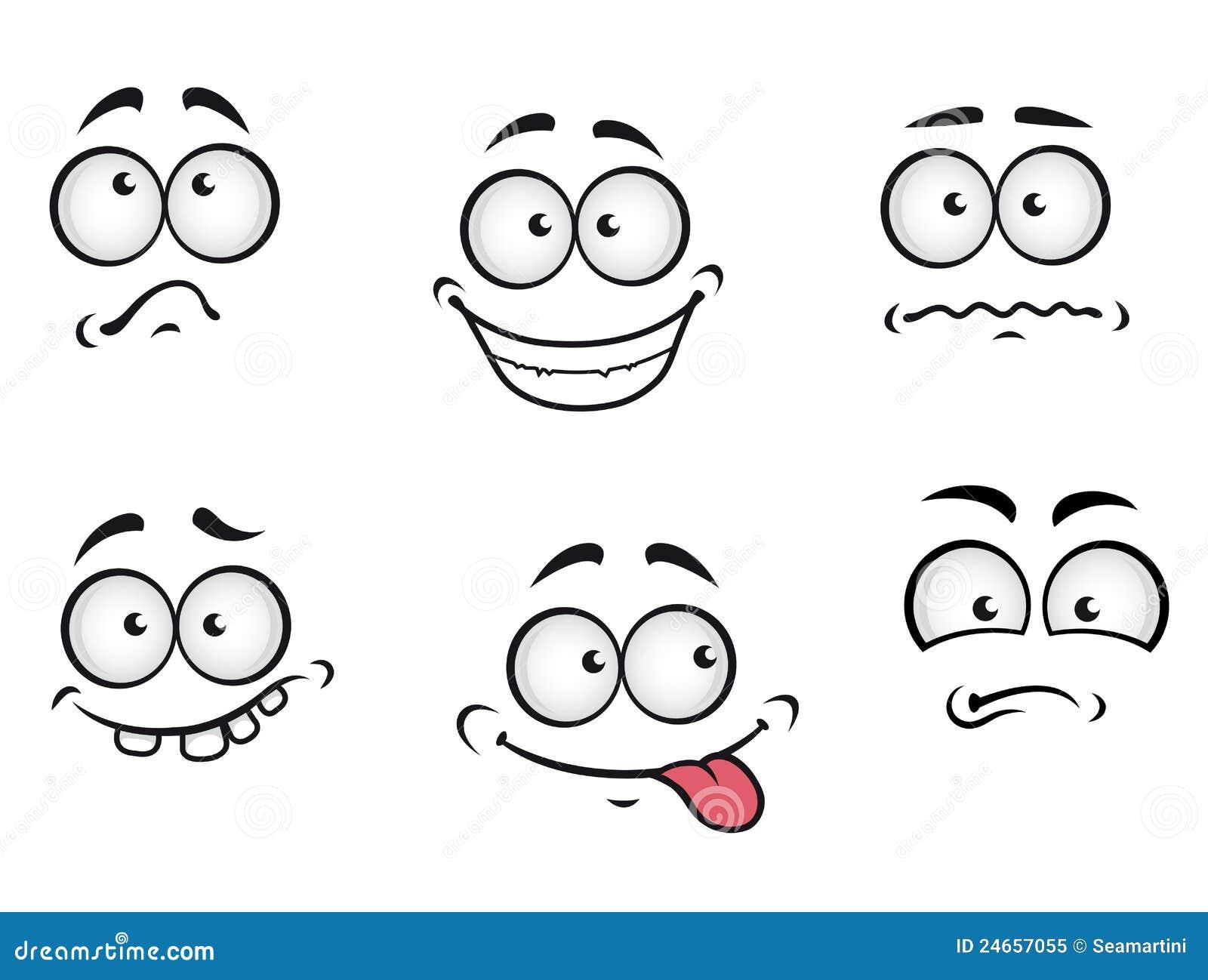 Exceptionnel Visages D'émotions De Dessin Animé Illustration de Vecteur - Image  OO59