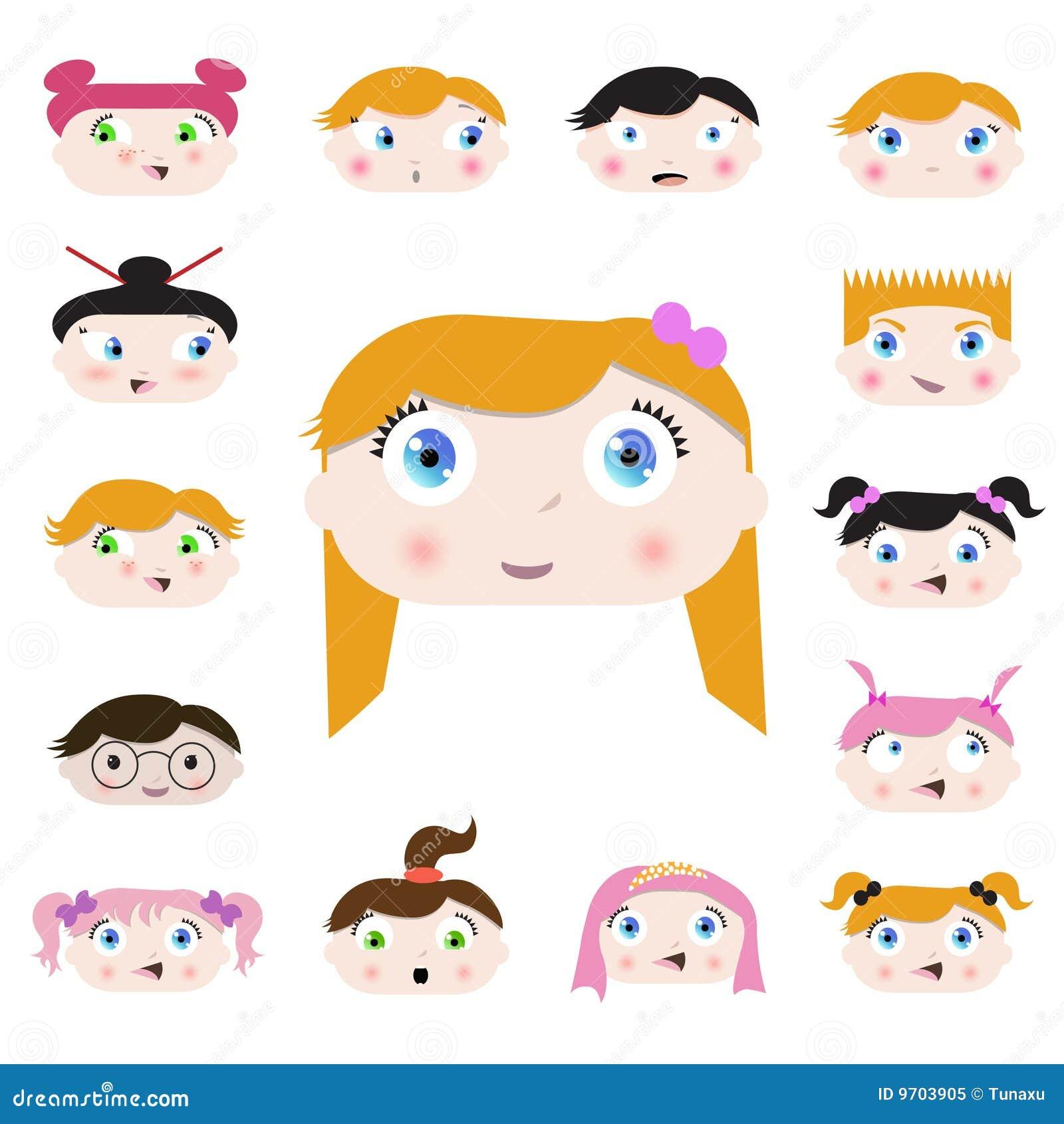 Dessin Anim 9 Ans: Visages D'enfant De Dessin Animé Illustration De Vecteur