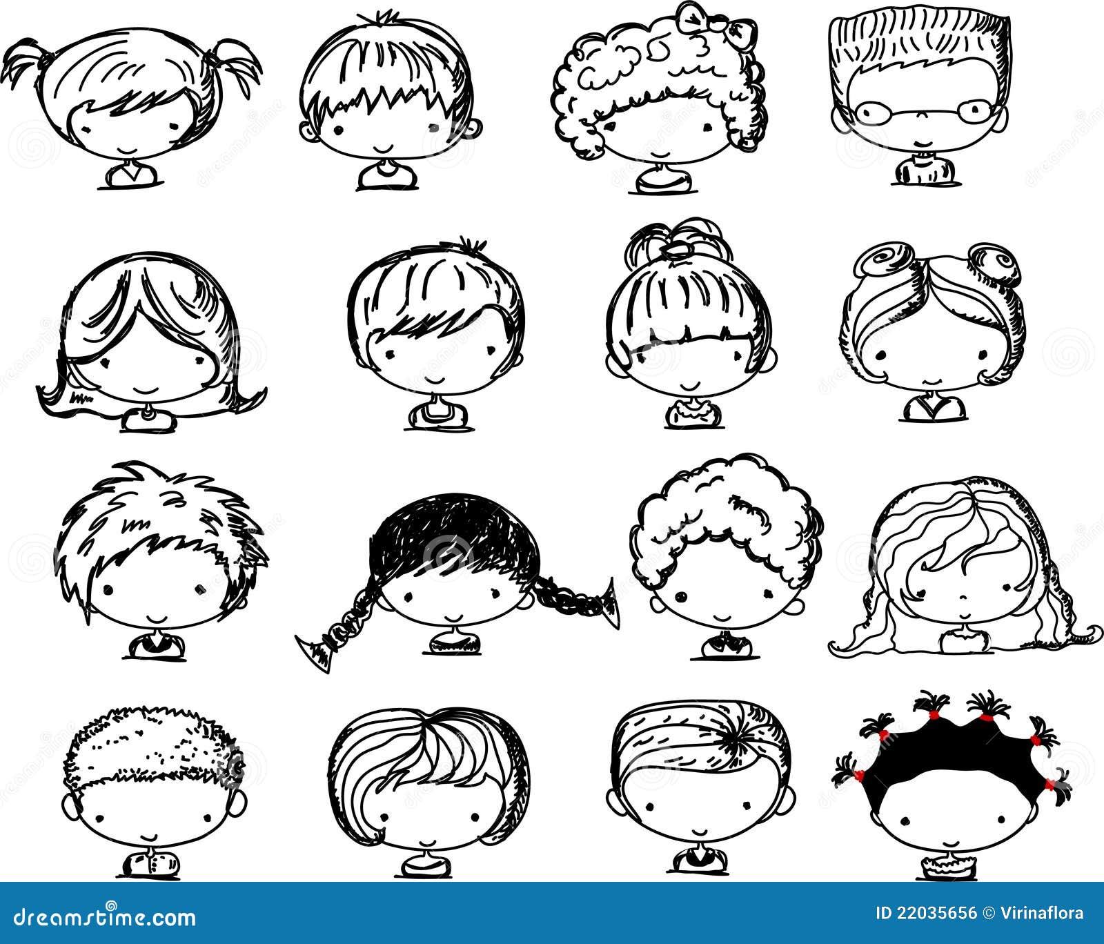 Super Visages De Dessin Animé Des Enfants, Vecteur Image libre de droits  QF15