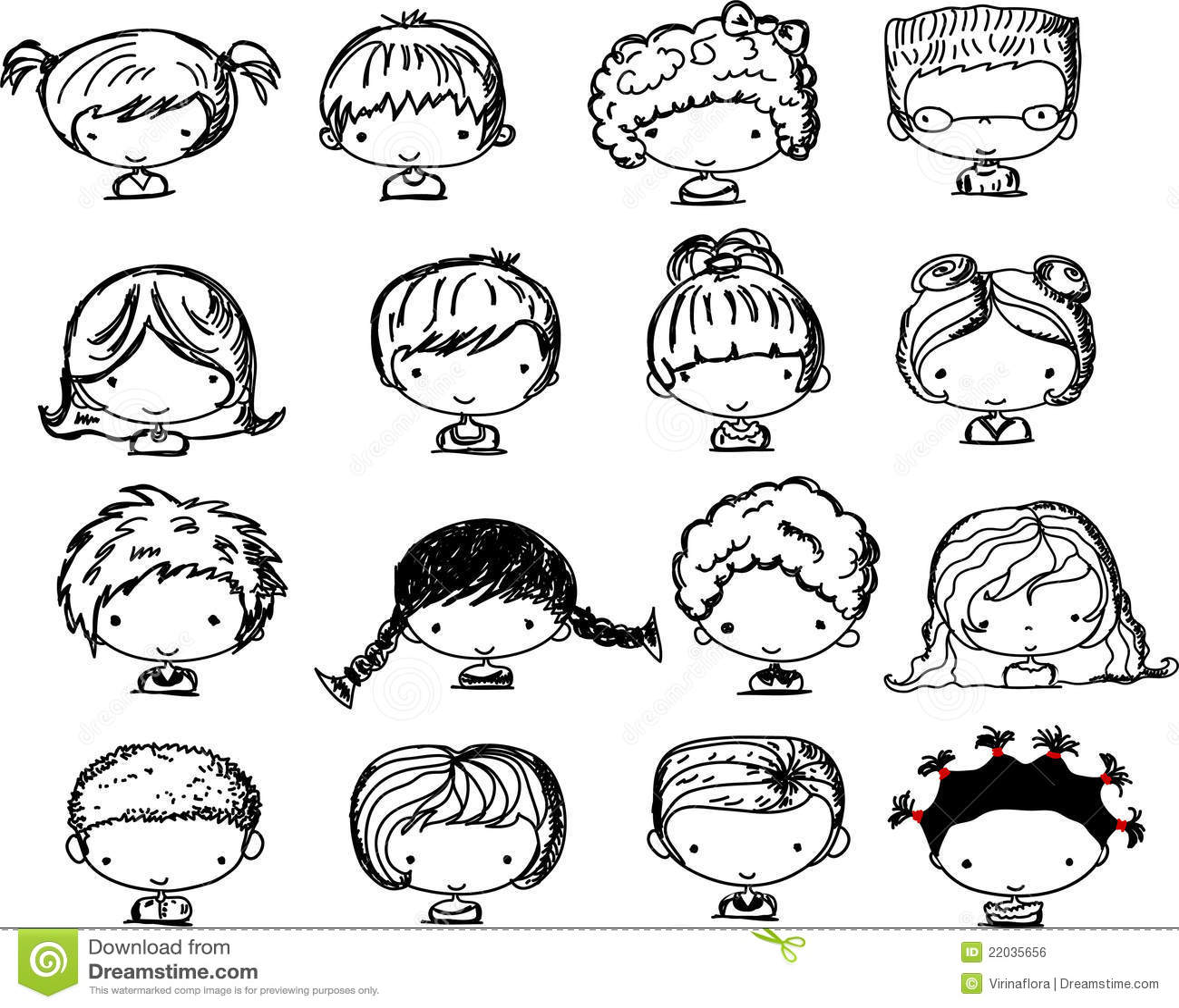 Visages de dessin anim des enfants vecteur image libre - Image dessin enfant ...