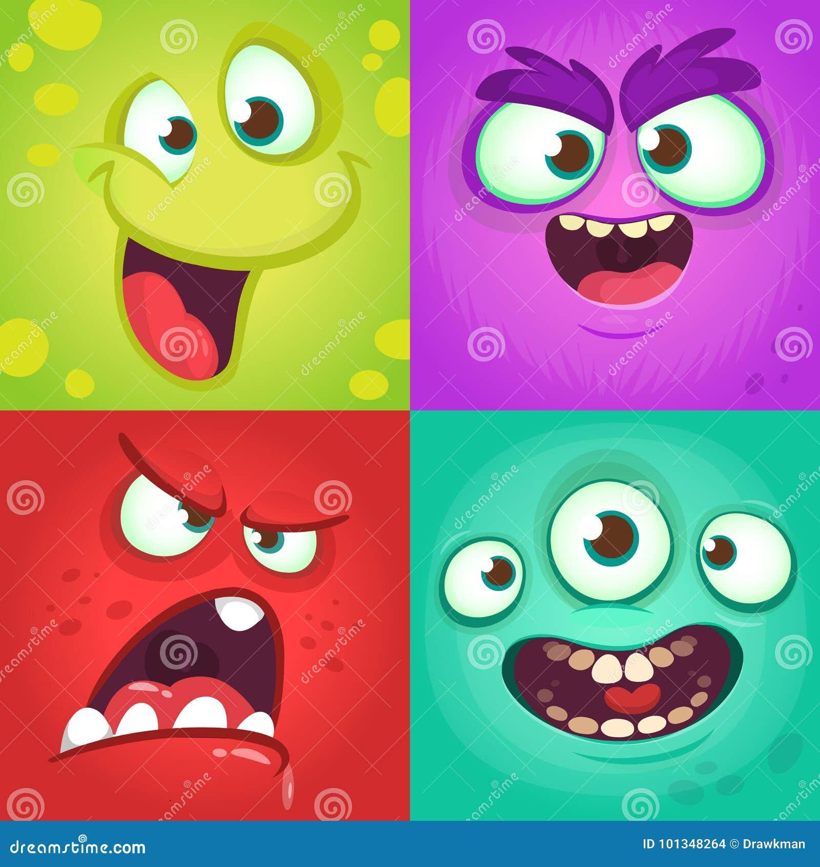 Visages de monstre de bande dessinée réglés Ensemble de vecteur de quatre visages de monstre de Halloween avec différentes expres