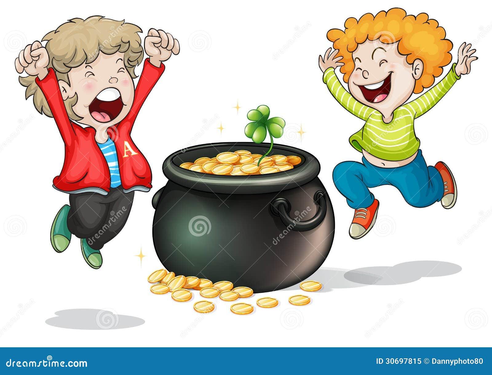 Visages heureux de deux enfants avec un pot d argent