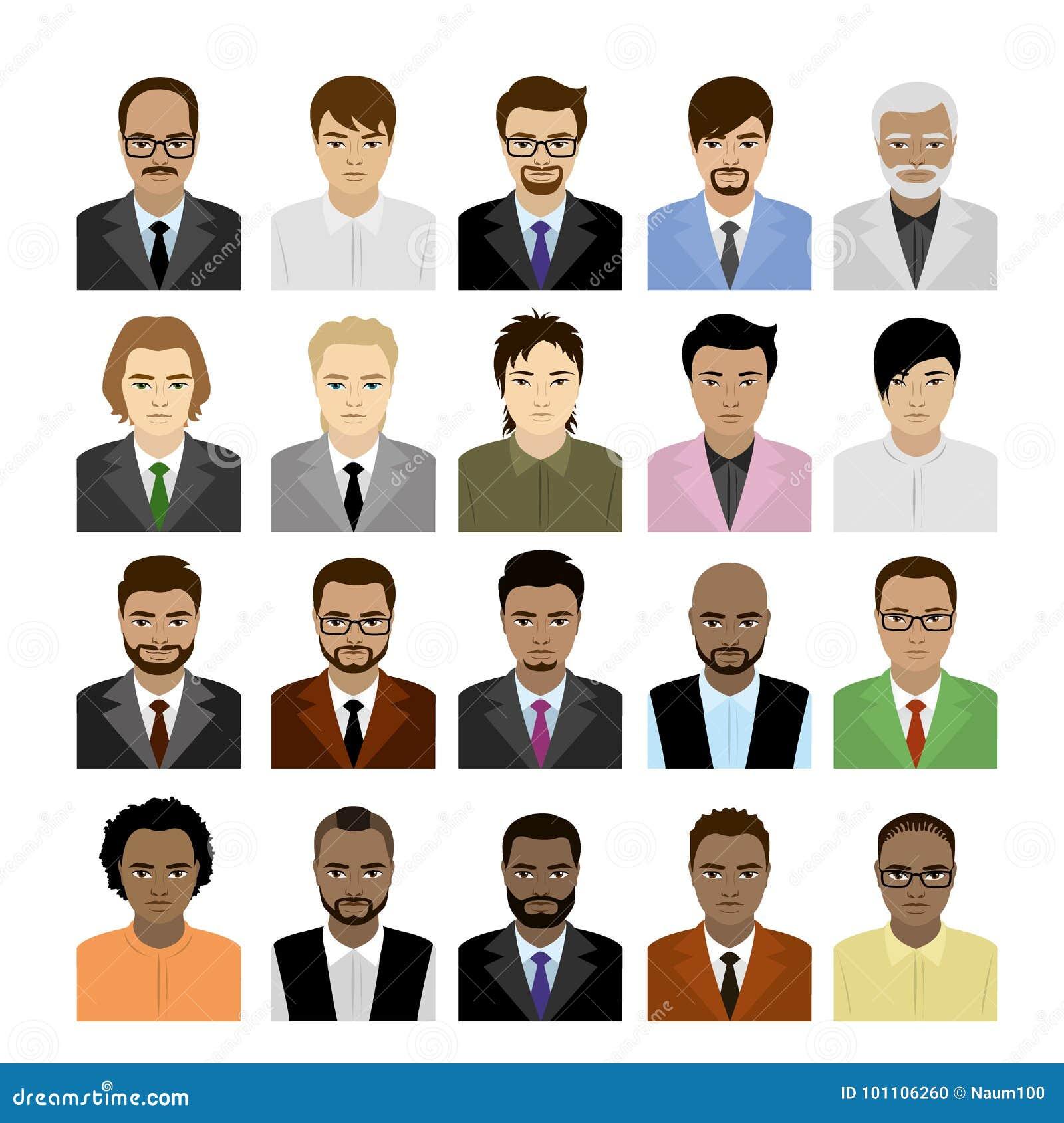 Visages masculins de grand ensemble des courses, de l avatar ou de l icône différent