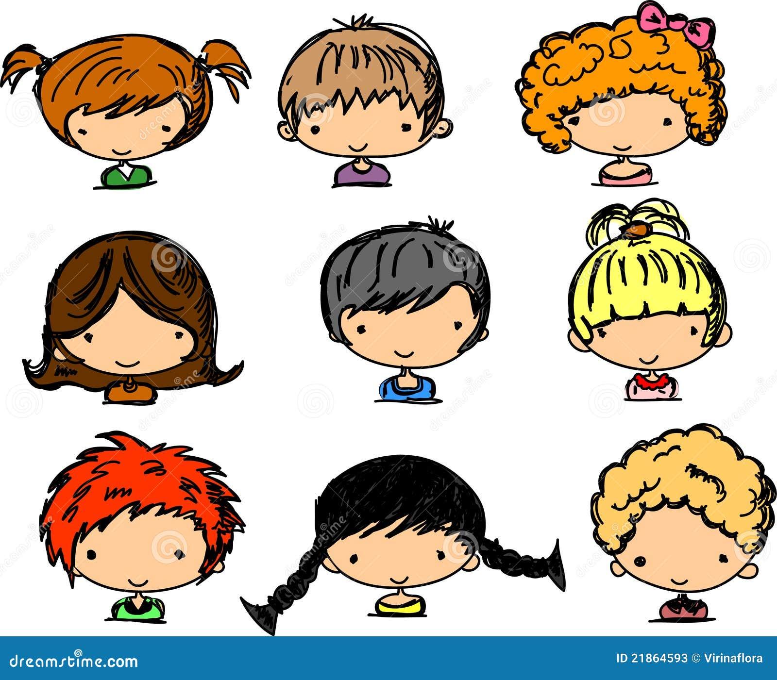 Bien-aimé Visages Mignons De Dessin Animé Des Enfants Photos stock - Image  YA77