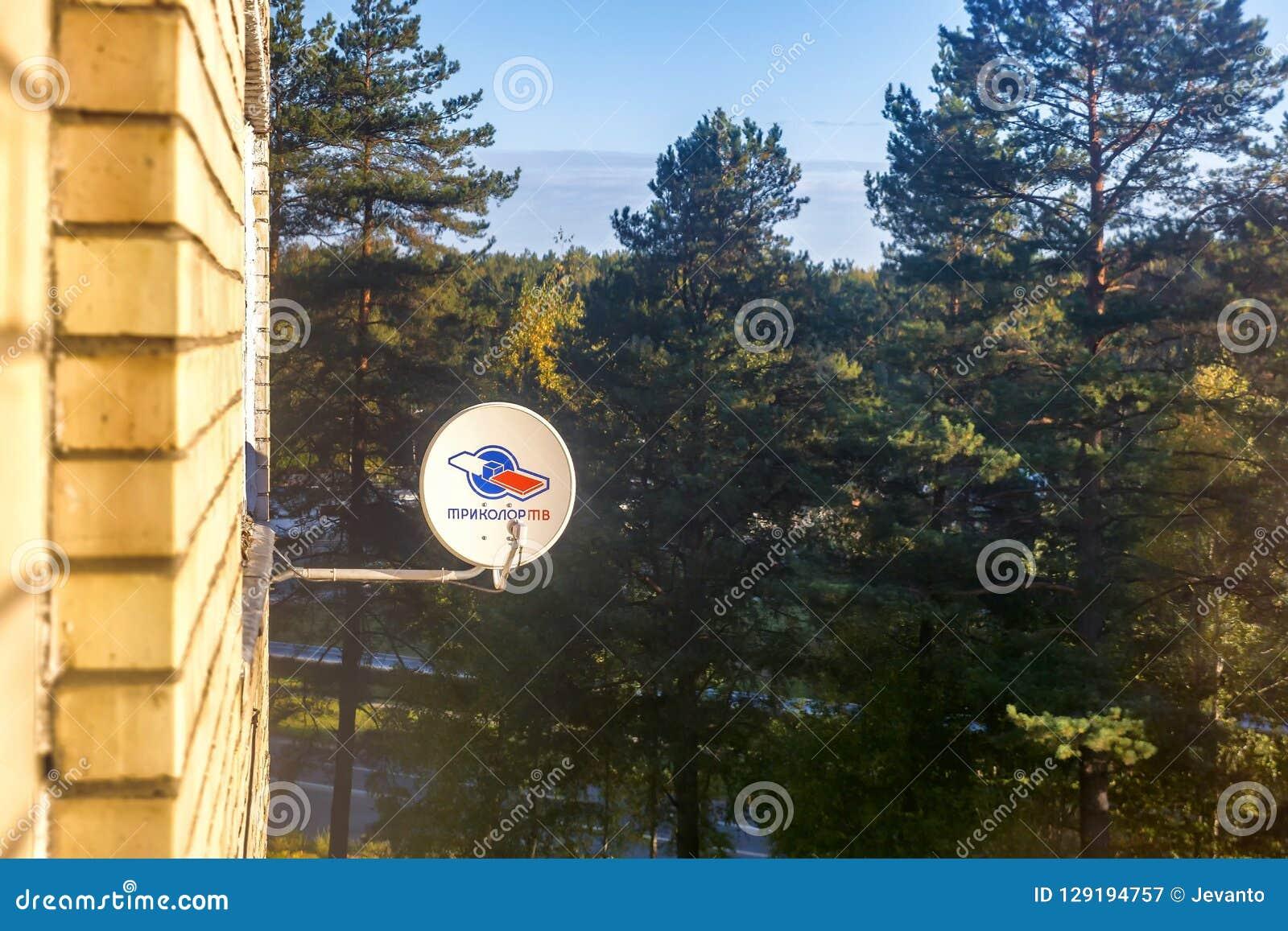 Visaginas Lituânia 1º de outubro de 2018: Prato aéreo satélite Tricolor da antena na parede de tijolo sobre madeiras de pinho