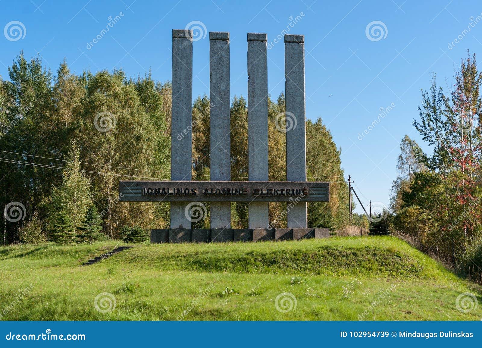 VISAGINAS, LITHUANIA - SEPTEMBER 24, 2017: Visaginas Nuclear Plant Power Name in Lithuania,