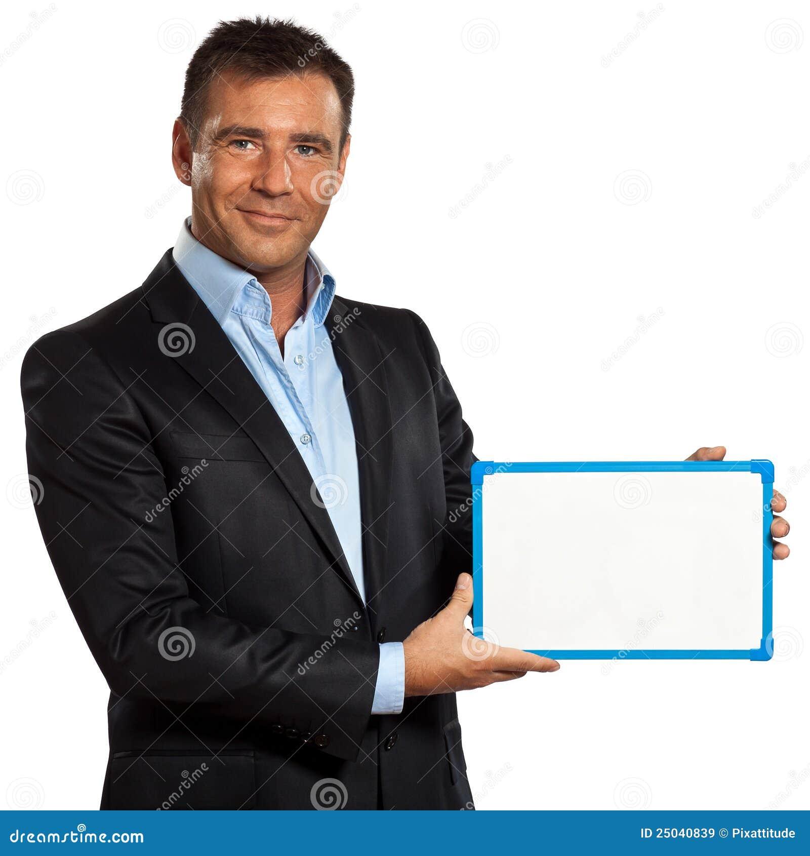 Visande whiteboard för affärsholdingman en
