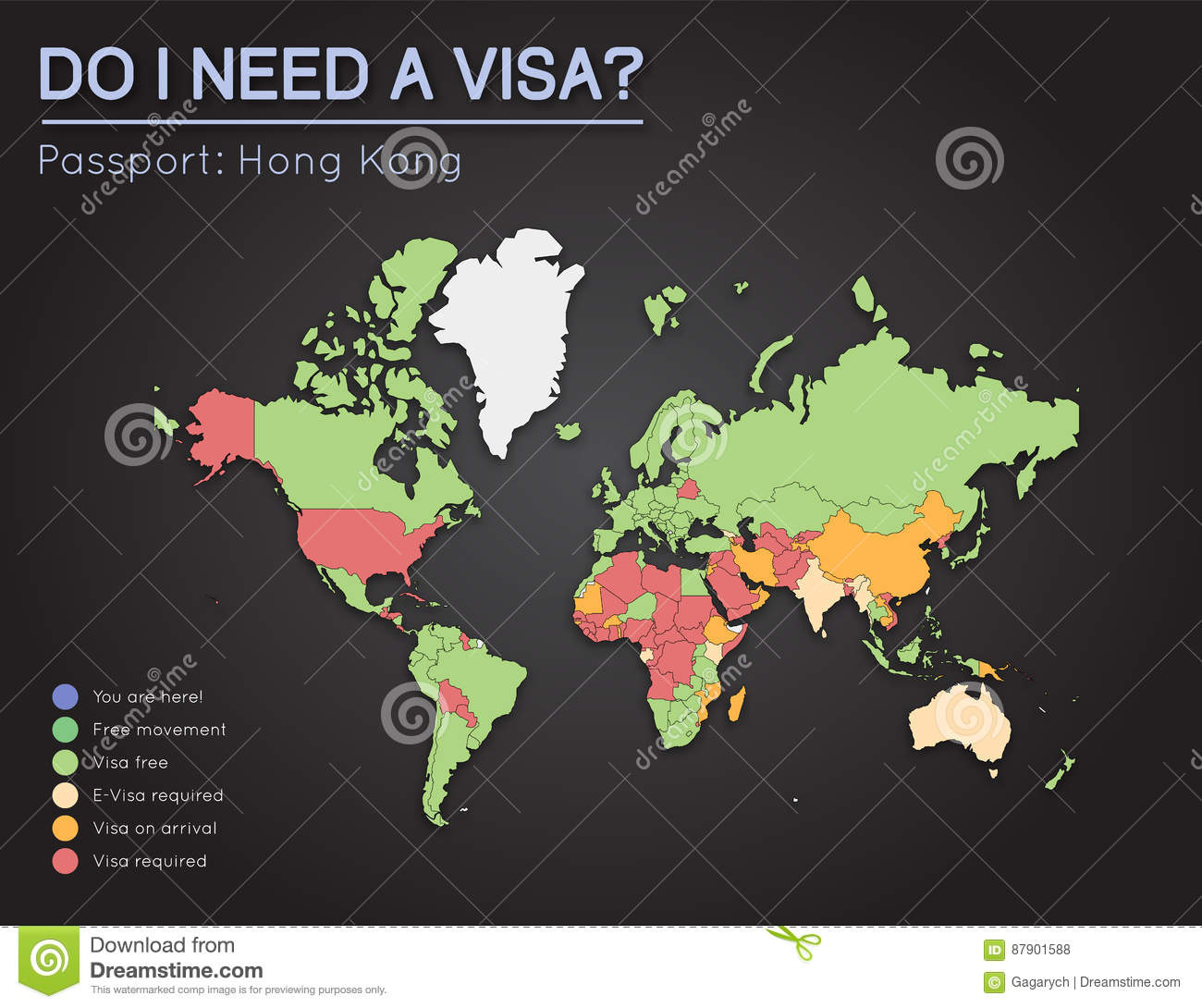 Visas information for hong kong passport holders stock vector visas information for hong kong passport holders year 2017 world map infographics showing visa requirements for all countries vector illustration publicscrutiny Image collections