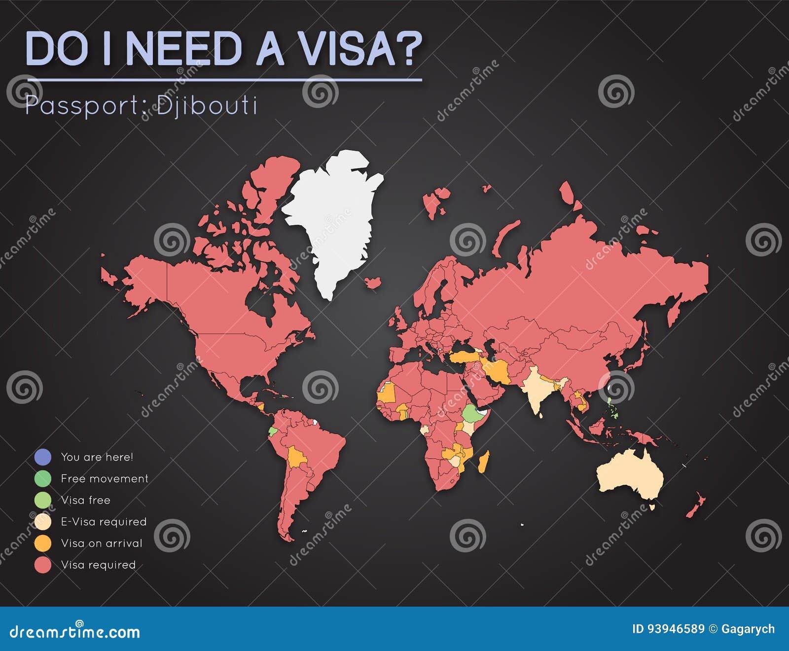 Visas Information For Republic Of Djibouti Stock Vector - Republic of djibouti map