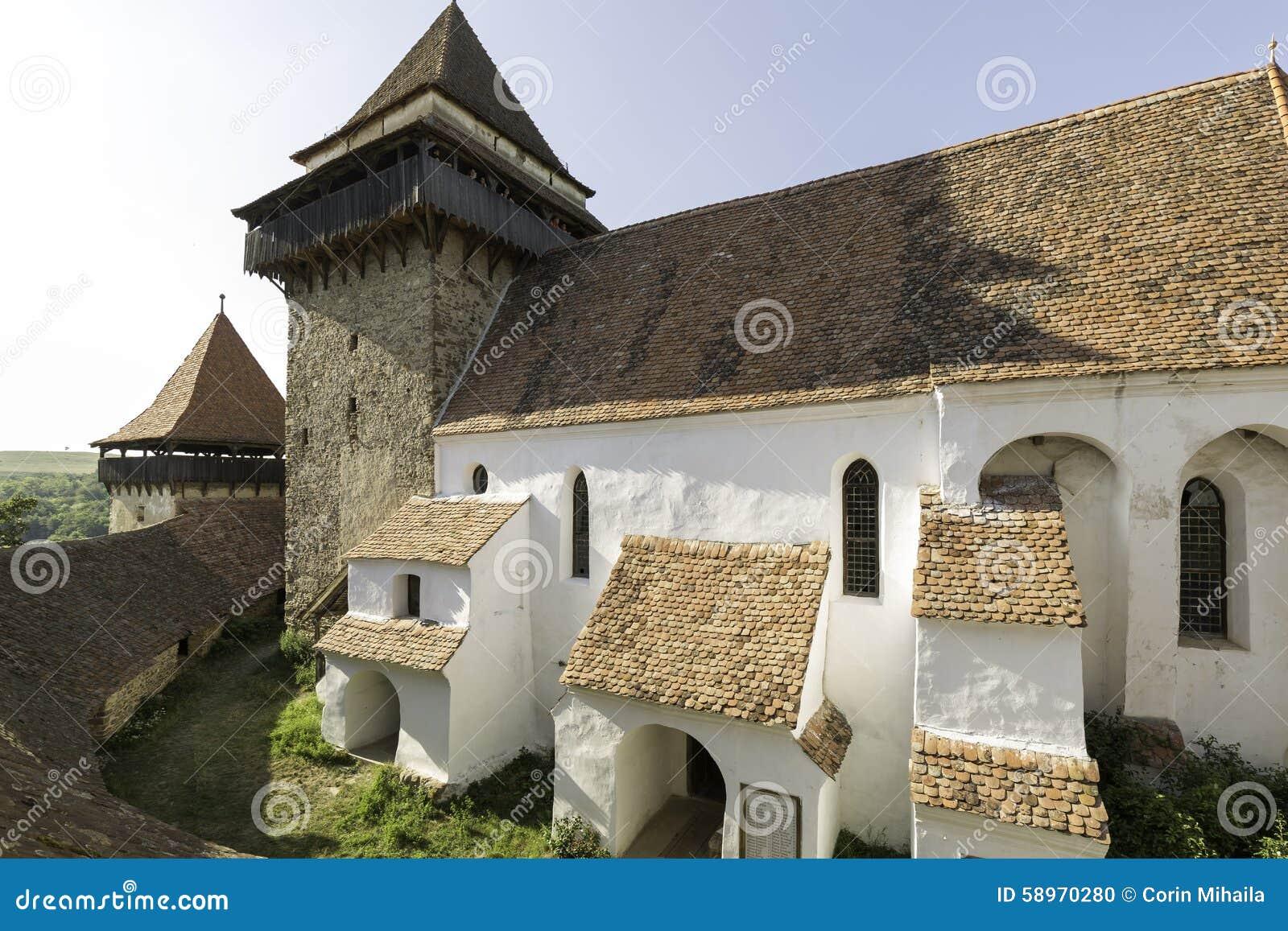 Viscri fortificou a igreja, uma vista do telhado