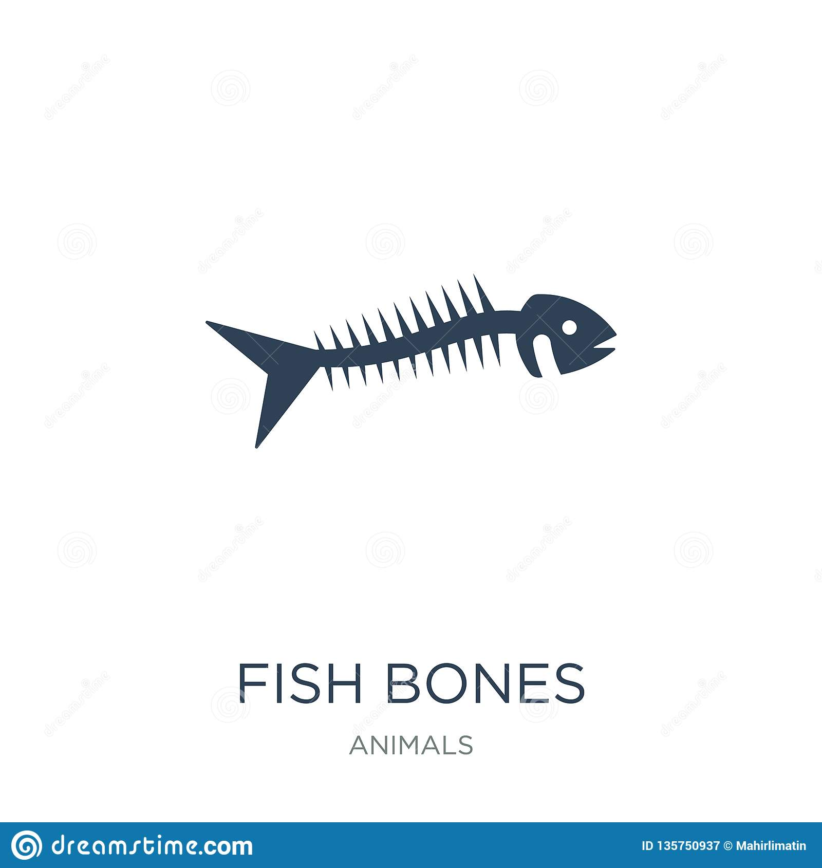 Visgratenpictogram in in ontwerpstijl visgratenpictogram op witte achtergrond wordt geïsoleerd die eenvoudig en modern visgraten