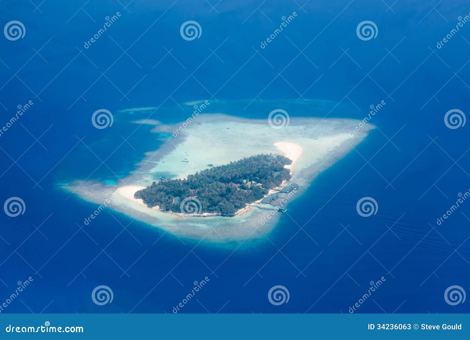 Visión aérea - atolones coralinos, Maldivas