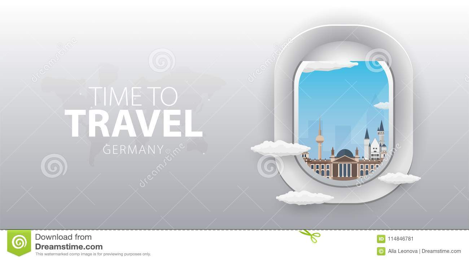 Visión desde el aeroplano Ventana del vuelo alemania Bandera plana del vector del web