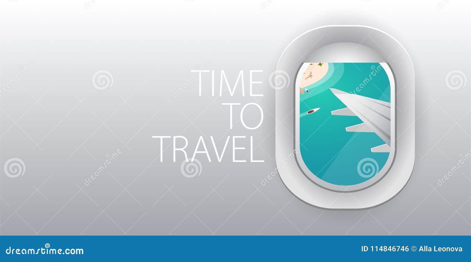 Visión desde el aeroplano Ventana del vuelo Playa tropical Bandera plana del vector del web
