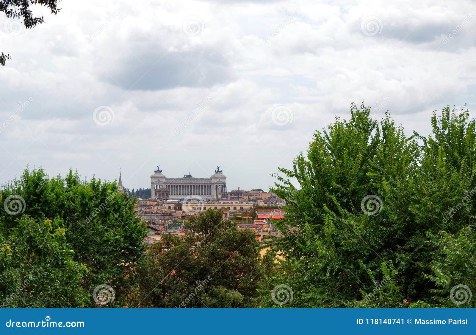 Visión desde el punto de vista o la colina Roma, Italia de Pincio de Pinciano