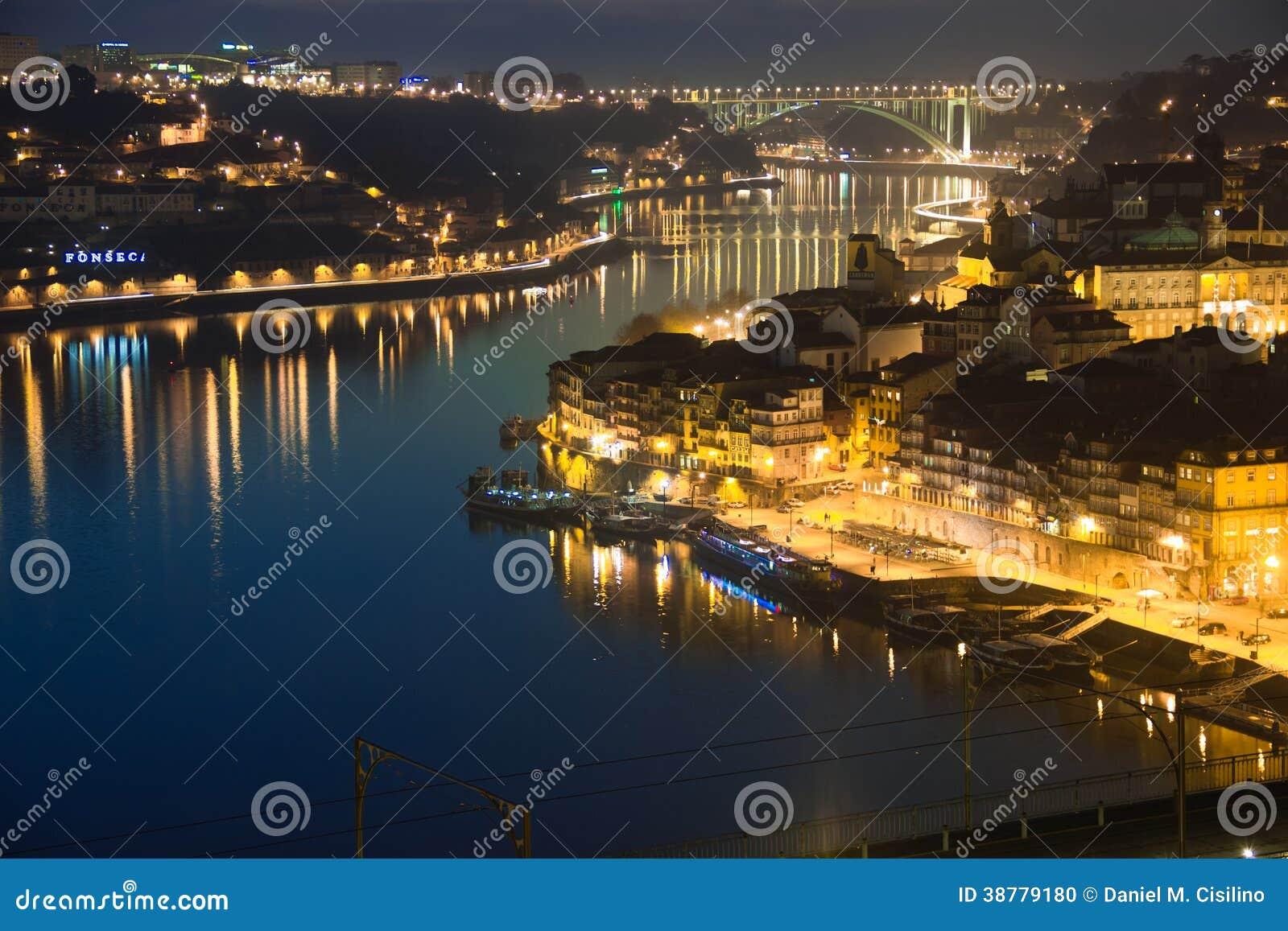 Visión panorámica en la noche. Oporto. Portugal