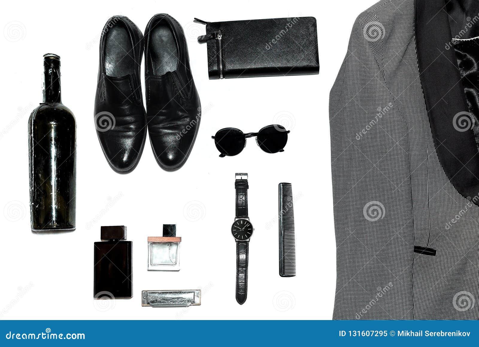 Visión superior en el estilo, la moda, la ropa y el estilo de los hombres