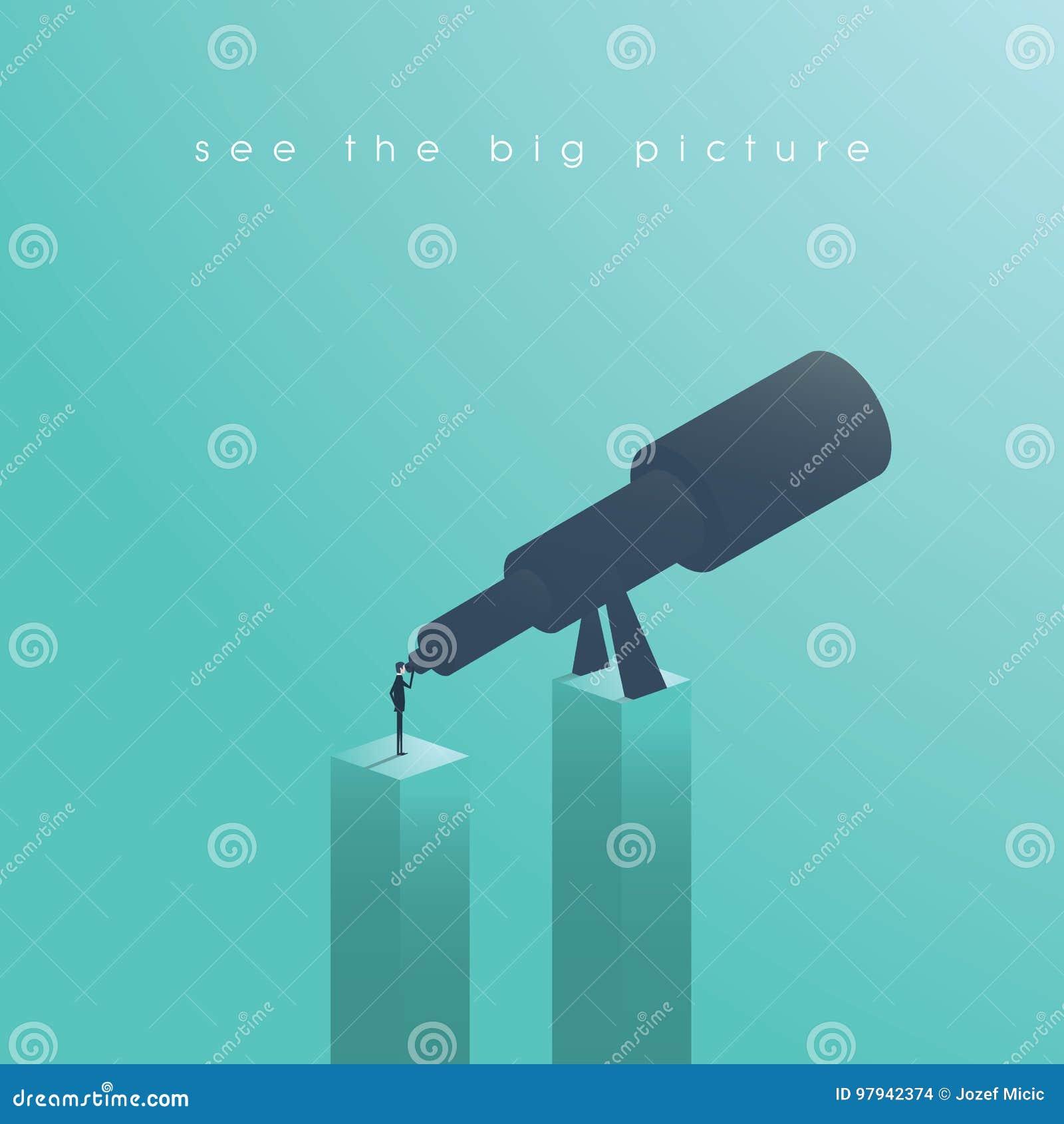Visieconcept in zaken met vector éénogig pictogram van zakenman en telescoop, Zie het Grote Beeld Symbool