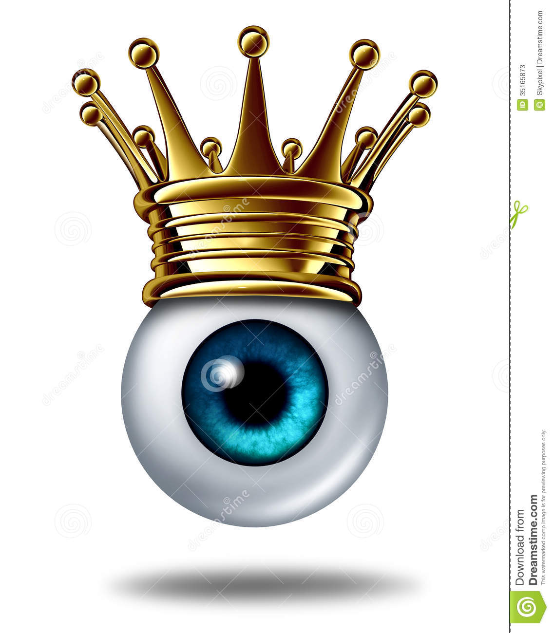... eyeball wearing a gold crown on a white background as an icon of